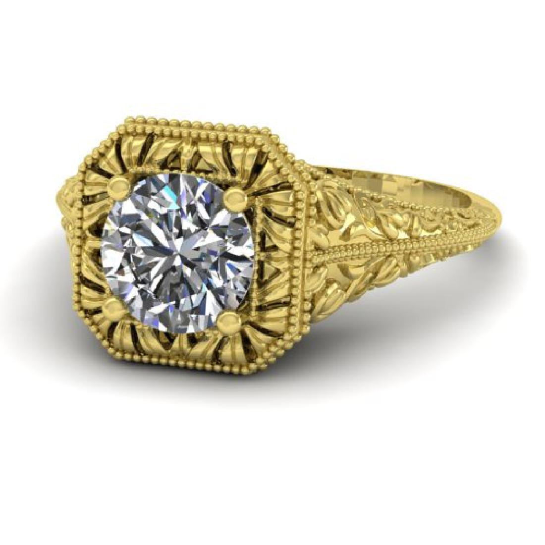 1 CTW Solitaire Certified VS/SI Diamond Ring 18K Yellow - 2