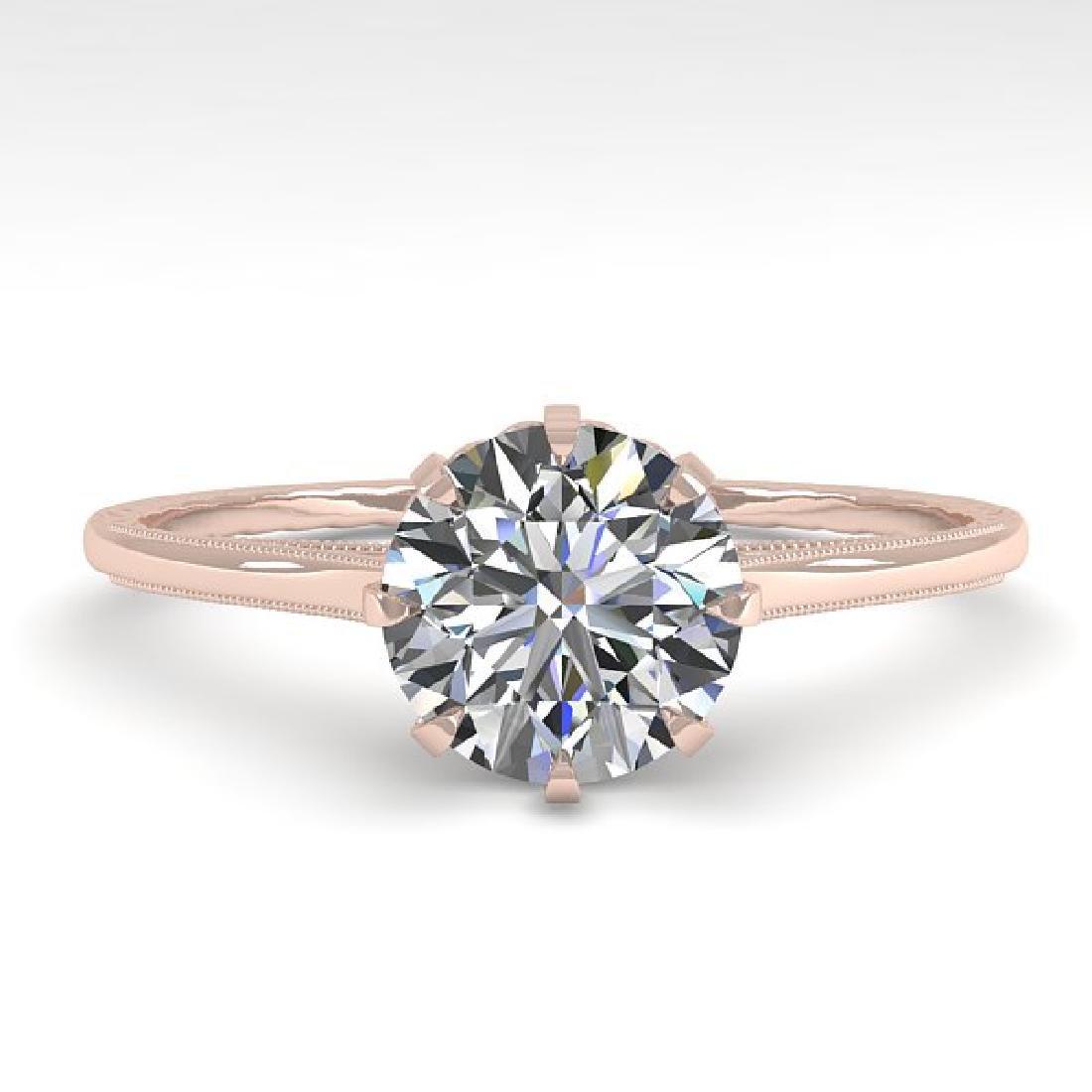 1.0 CTW Certified VS/SI Diamond Ring 14K Rose Gold