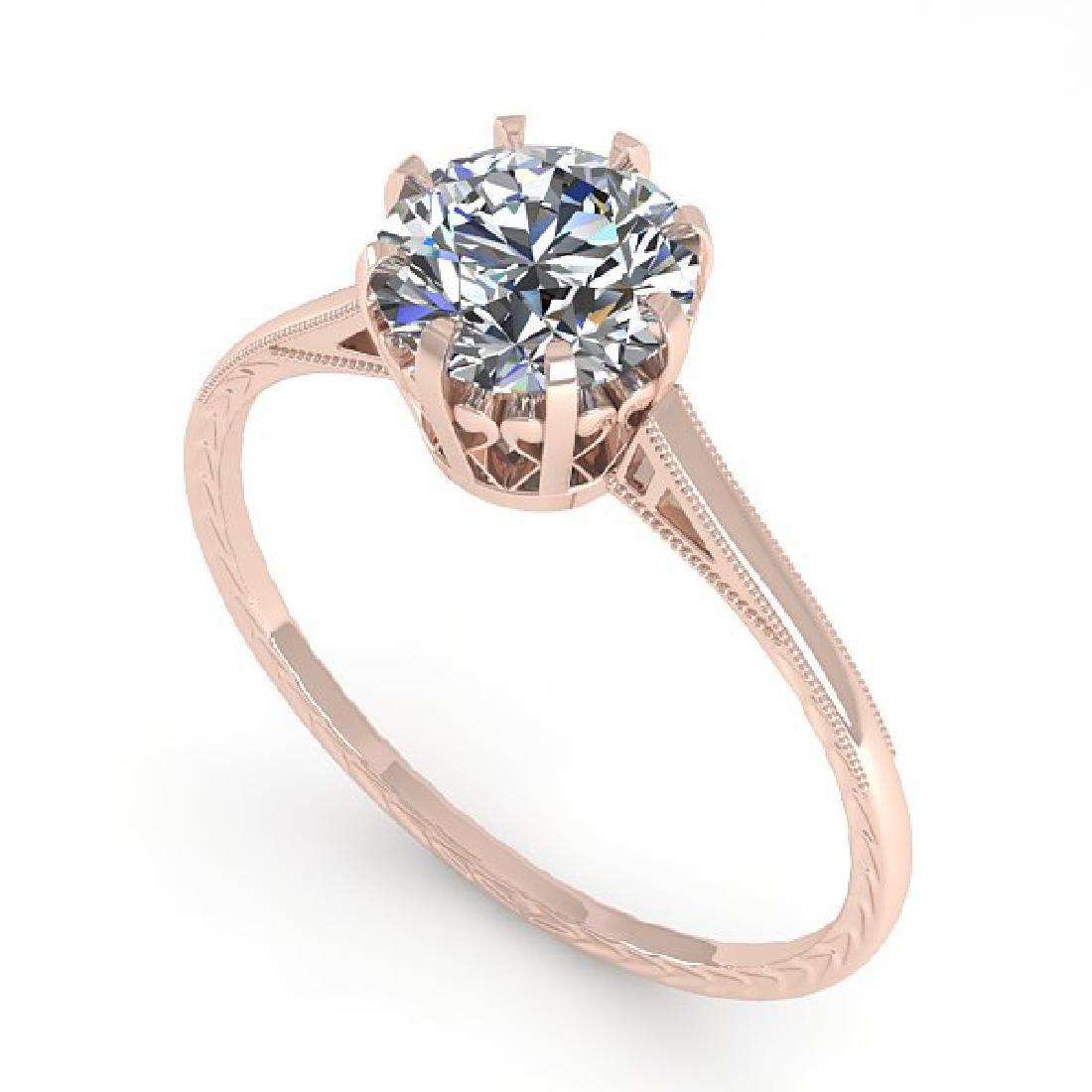 1.0 CTW Certified VS/SI Diamond Ring 14K Rose Gold - 2