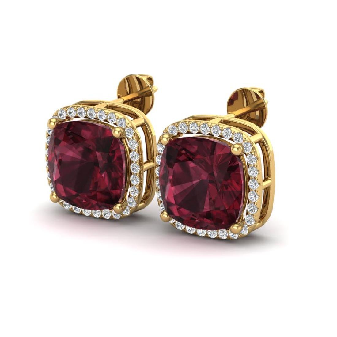 12 CTW Garnet & Micro Pave Halo VS/SI Diamond Earrings
