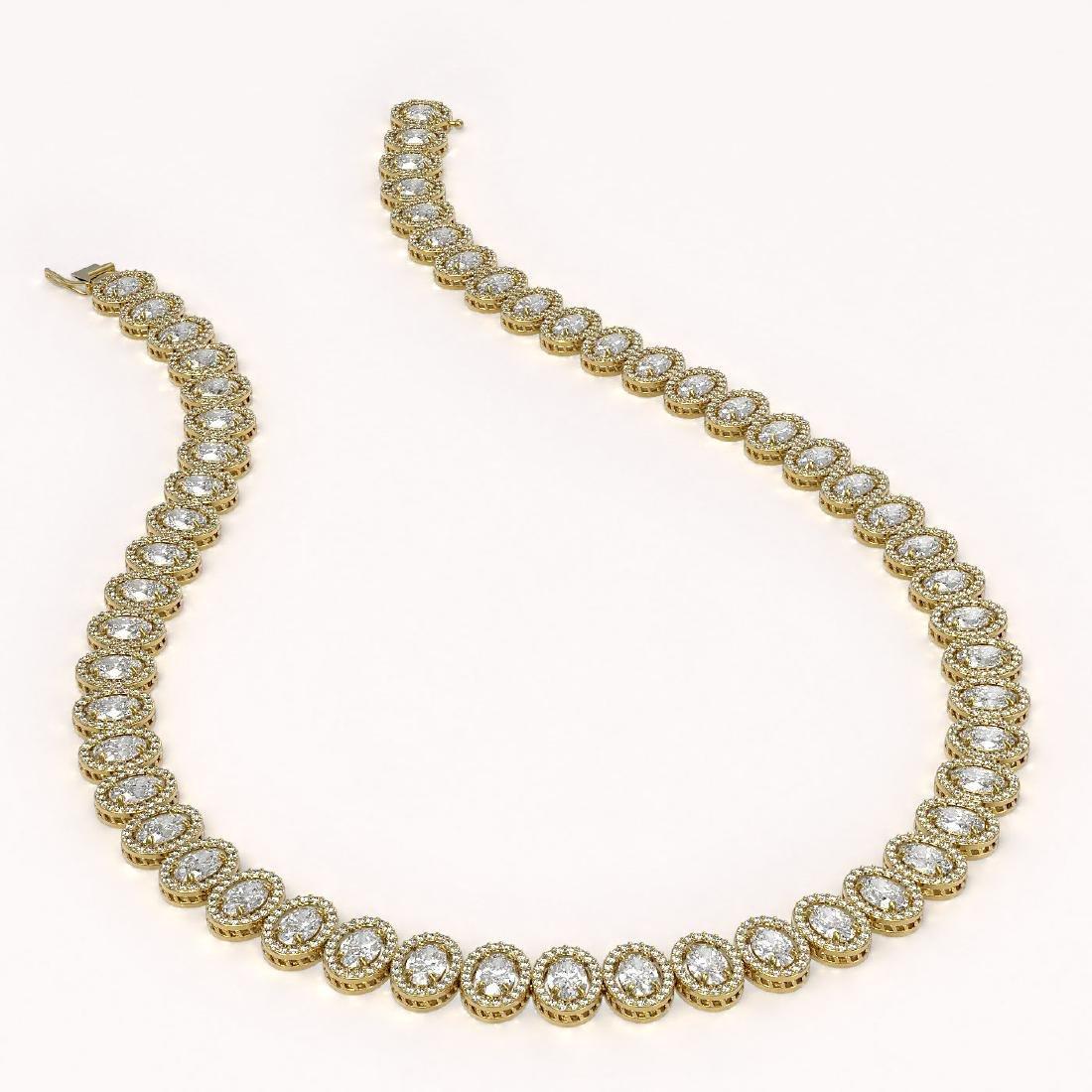 34.72 CTW Oval Diamond Designer Necklace 18K Yellow - 2