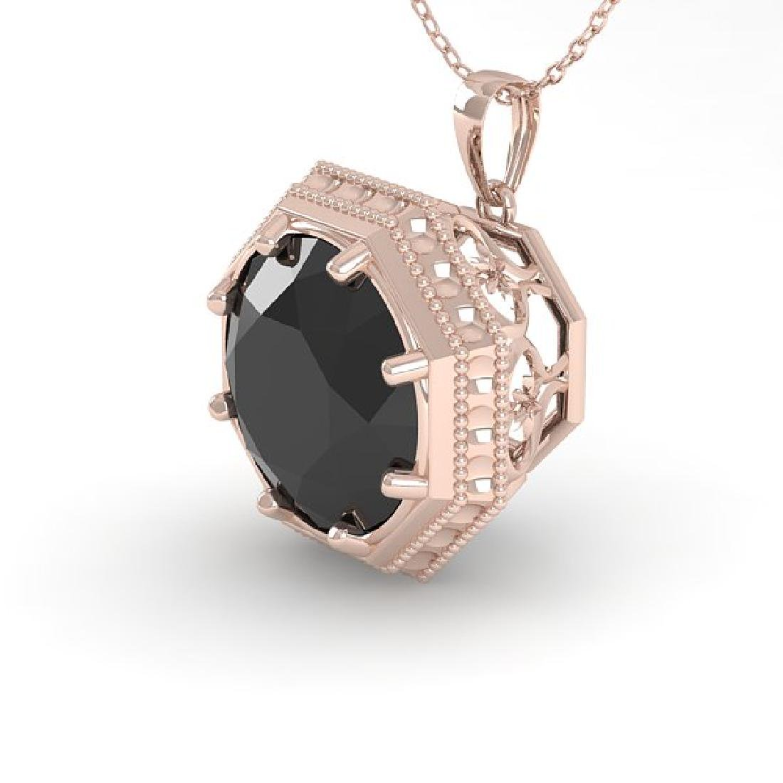 1.50 CTW Black Certified Diamond Necklace 14K Rose Gold