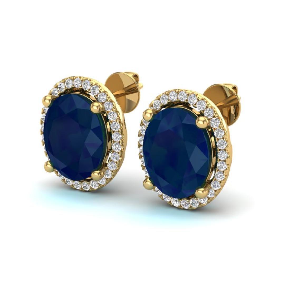6 CTW Sapphire & Micro Pave VS/SI Diamond Earrings Halo