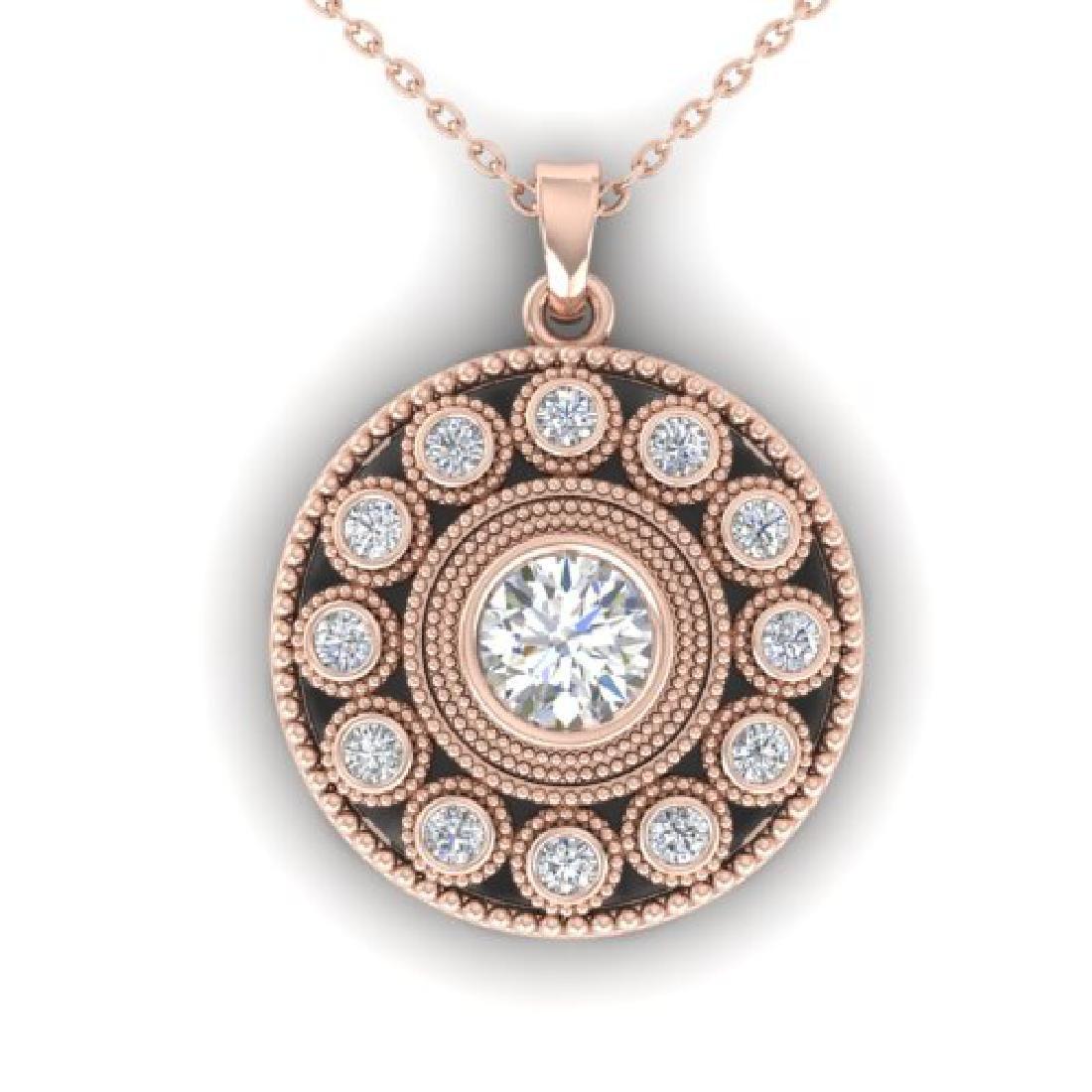 0.91 CTW Certified VS/SI Diamond Art Deco Necklace 18K