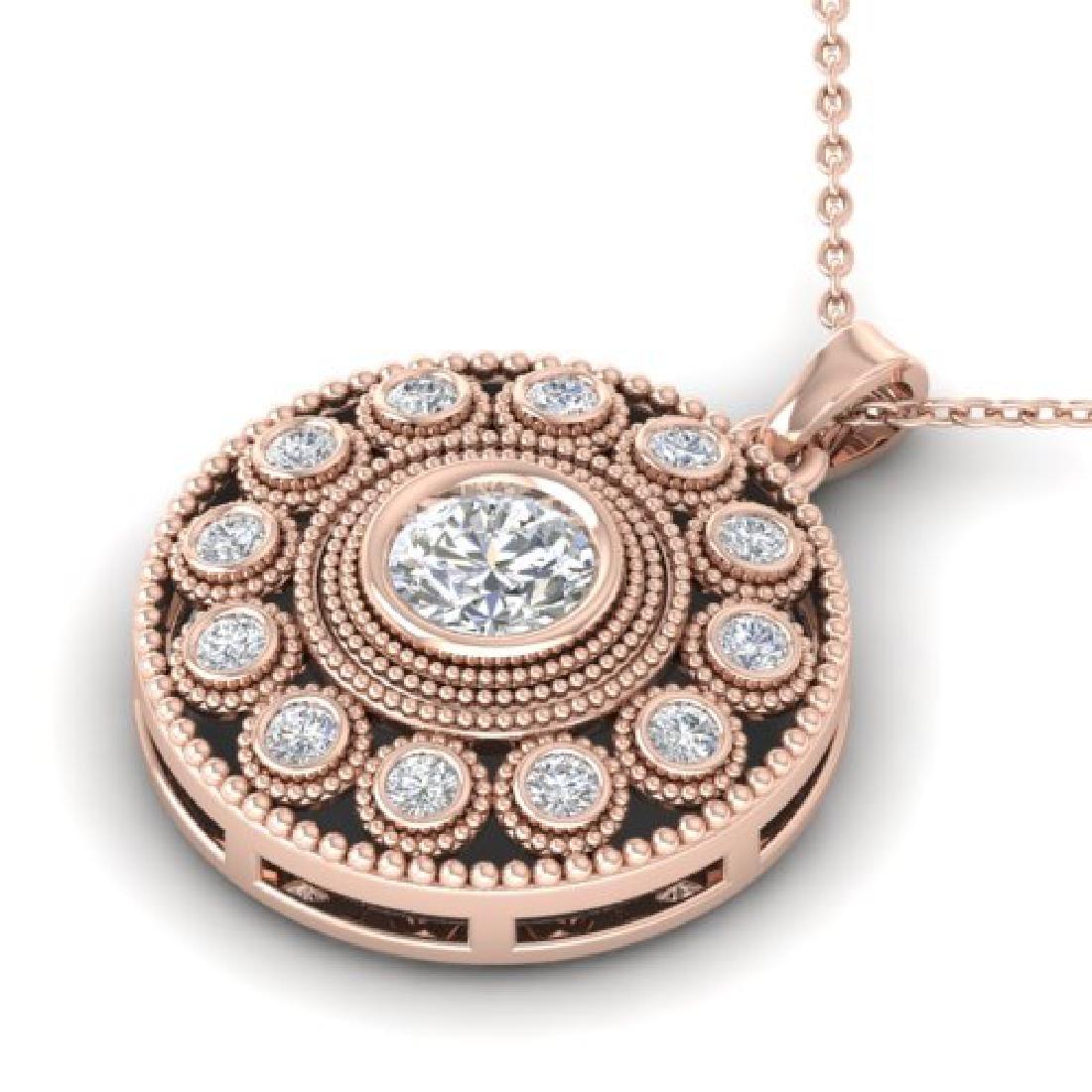0.91 CTW Certified VS/SI Diamond Art Deco Necklace 18K - 2