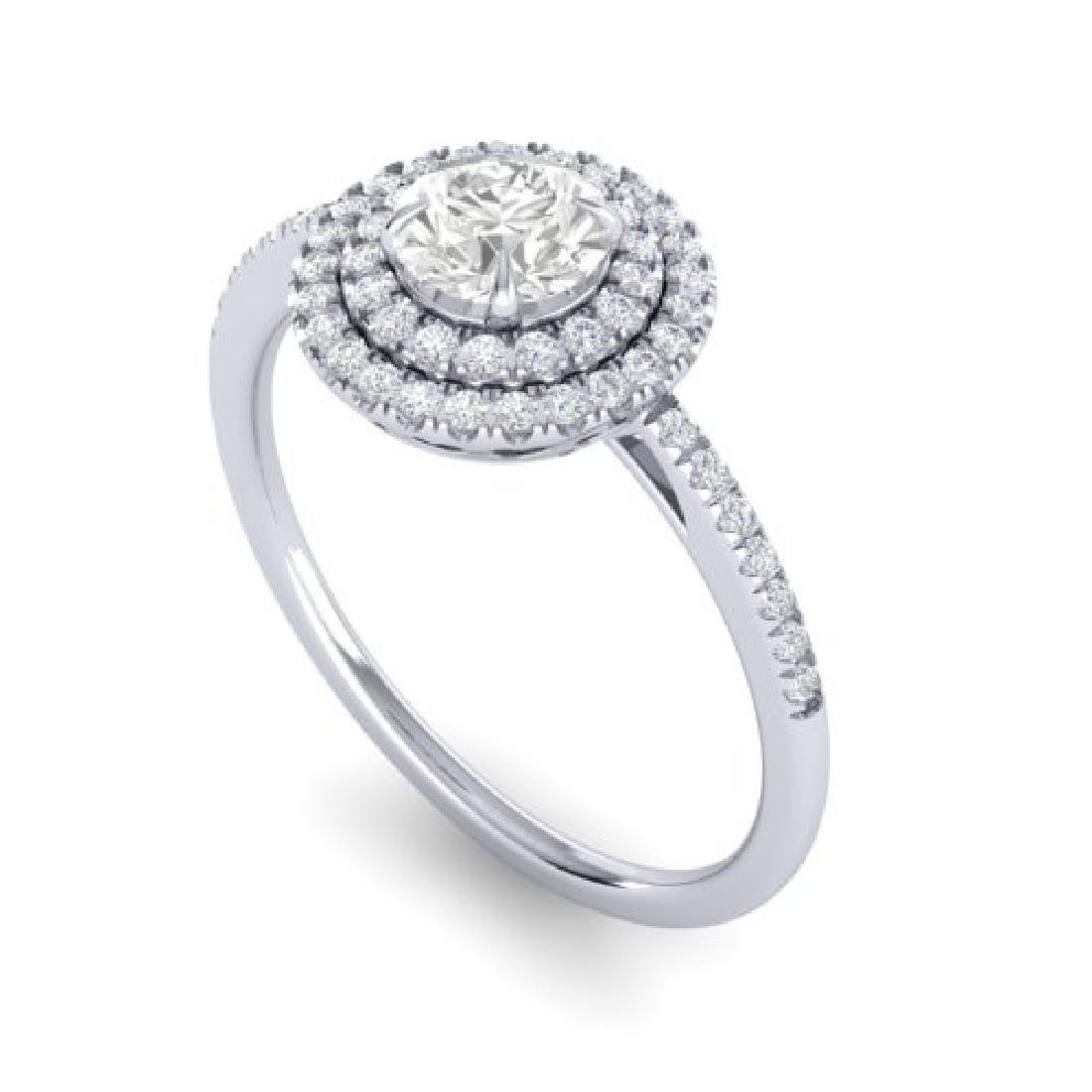 1 CTW Micro Pave VS/SI Diamond Solitaire Ring Halo 18K - 2