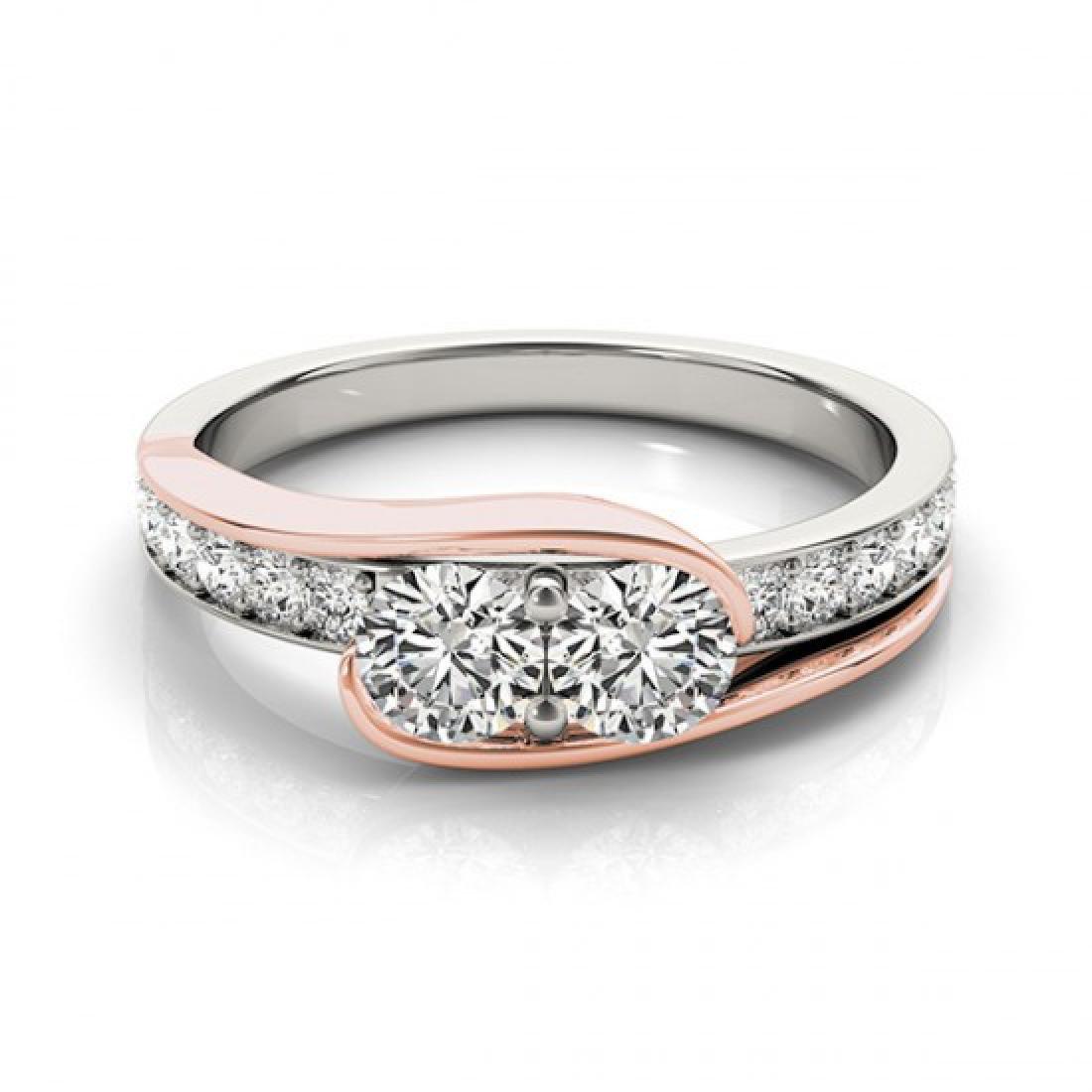 1.45 CTW Certified VS/SI Diamond 2 Stone Ring 14K White