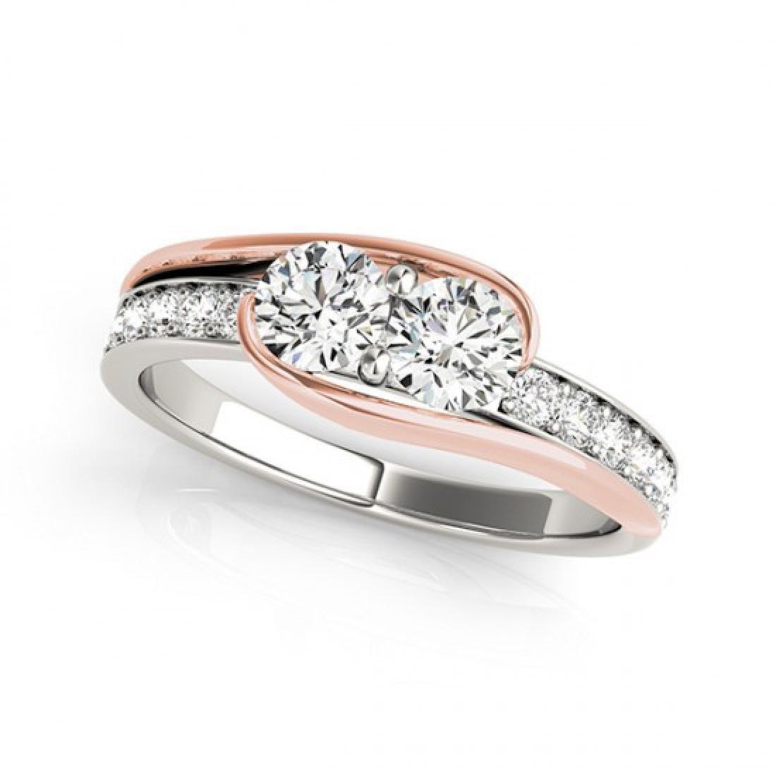 1.45 CTW Certified VS/SI Diamond 2 Stone Ring 14K White - 2
