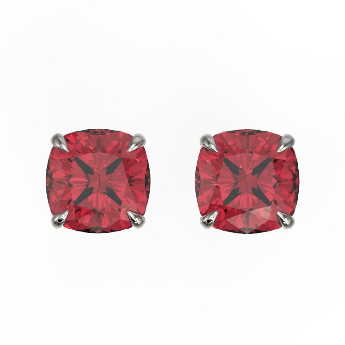 4 CTW Cushion Cut Pink Tourmaline Solitaire Stud