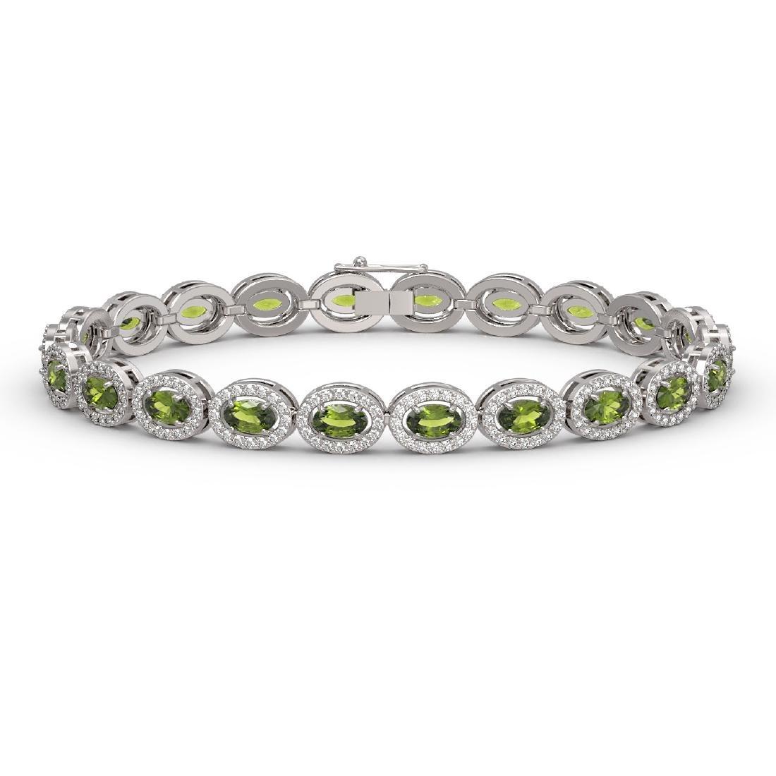 10.54 CTW Tourmaline & Diamond Halo Bracelet 10K White