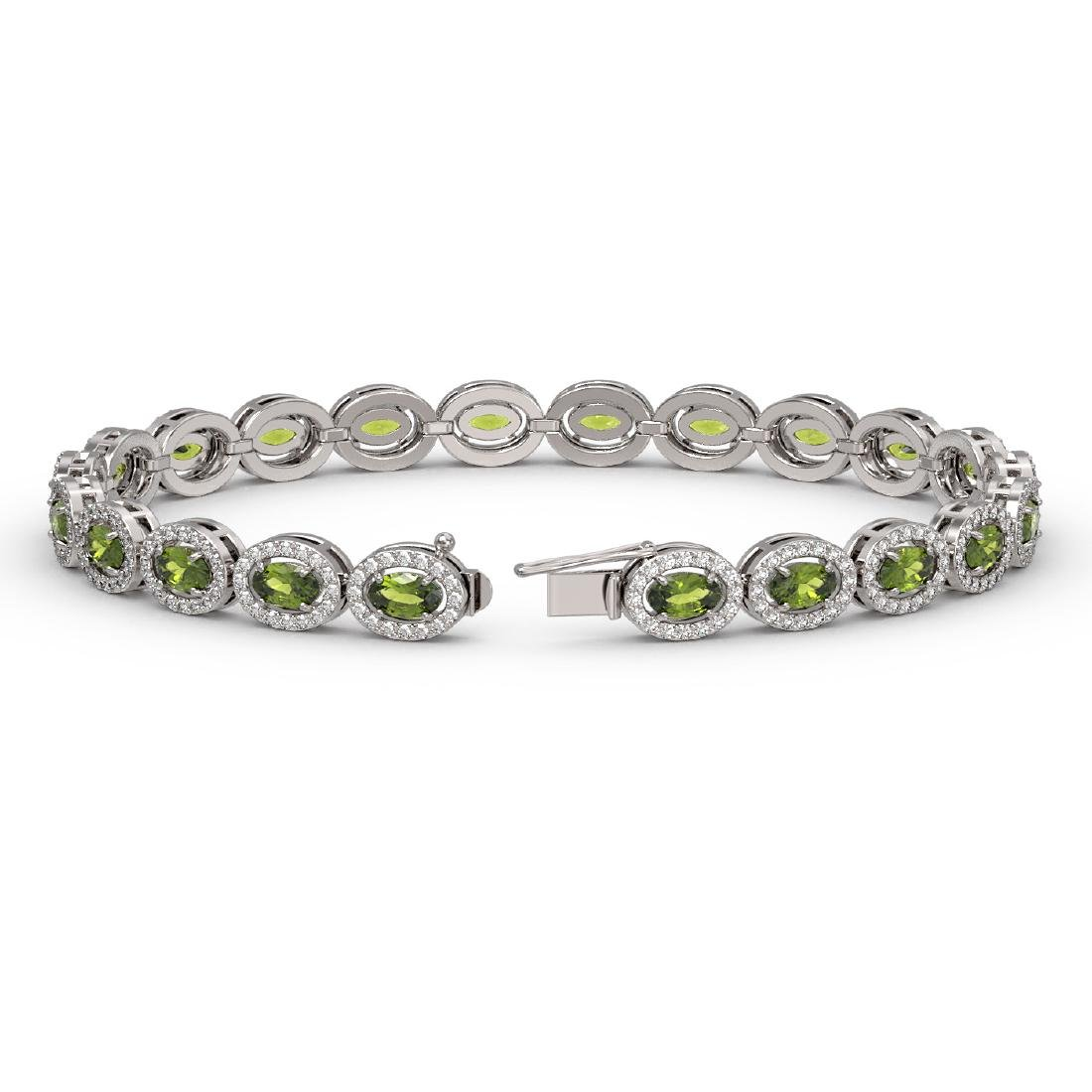10.54 CTW Tourmaline & Diamond Halo Bracelet 10K White - 2