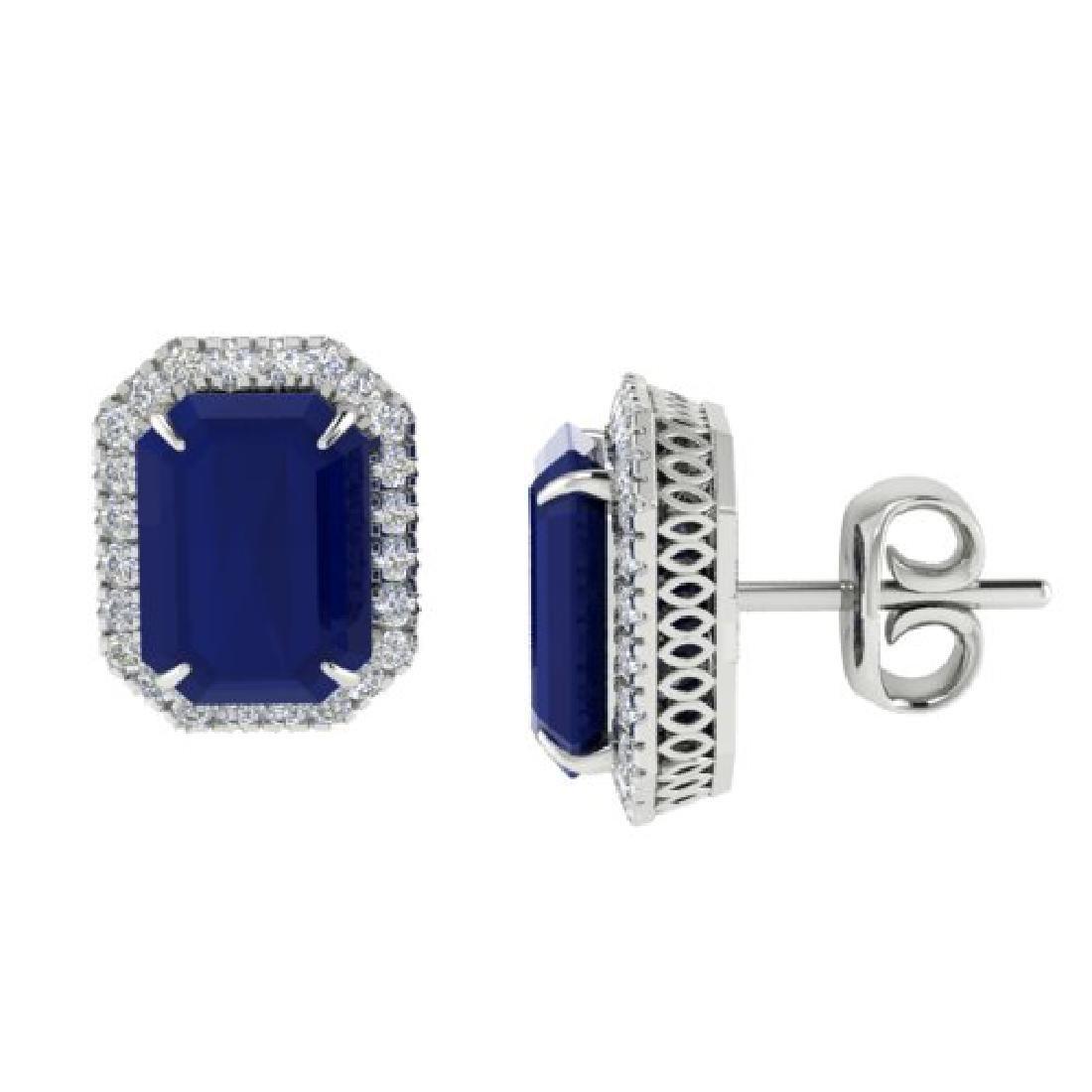 14 CTW Sapphire And Micro Pave VS/SI Diamond Halo - 2