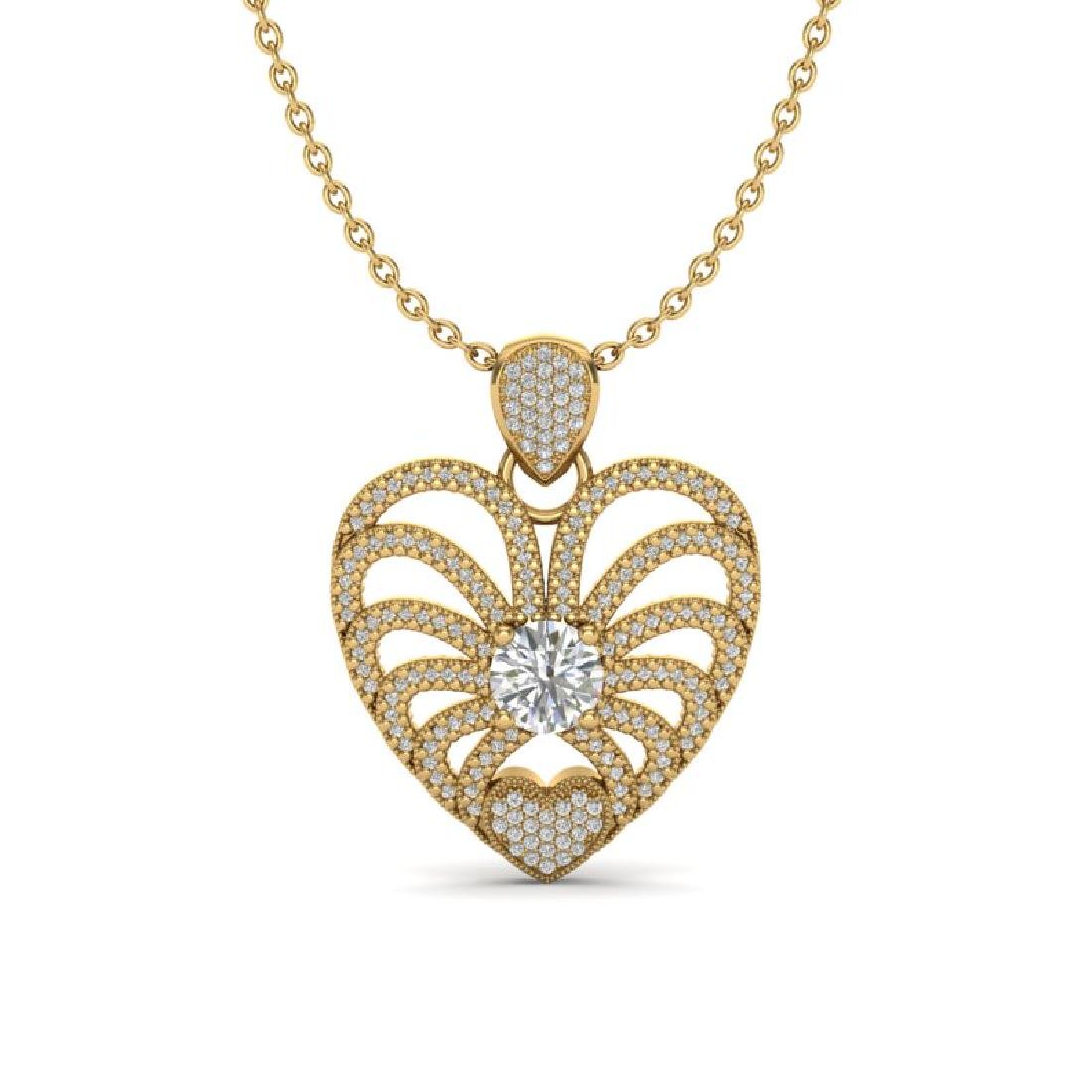 3 CTW Micro Pave VS/SI Diamond Heart Necklace 14K