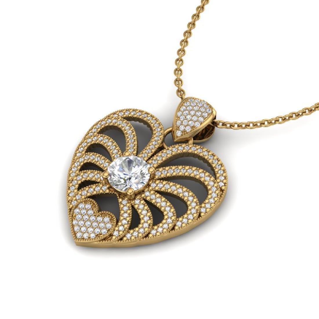 3 CTW Micro Pave VS/SI Diamond Heart Necklace 14K - 2