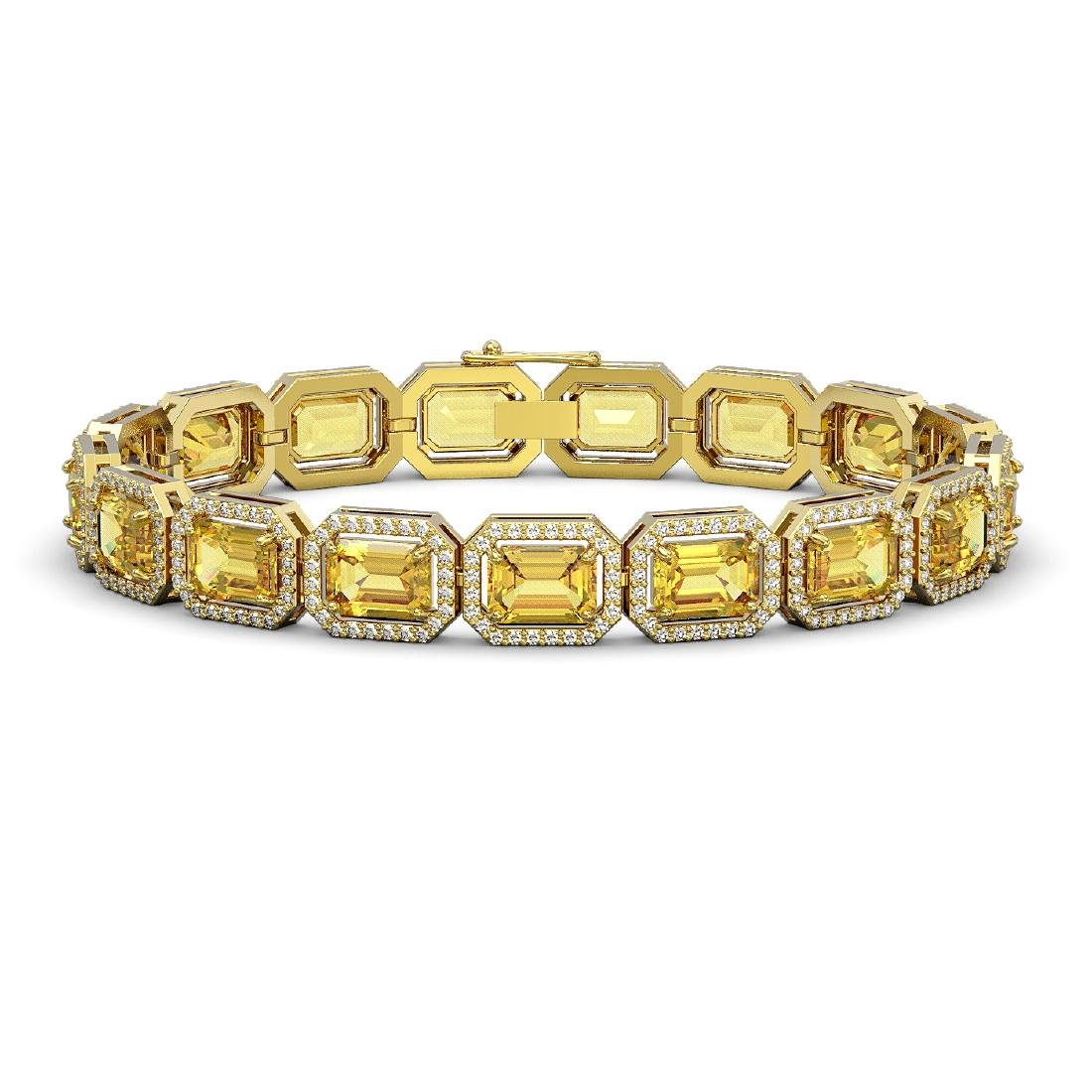 23.74 CTW Fancy Citrine & Diamond Halo Bracelet 10K