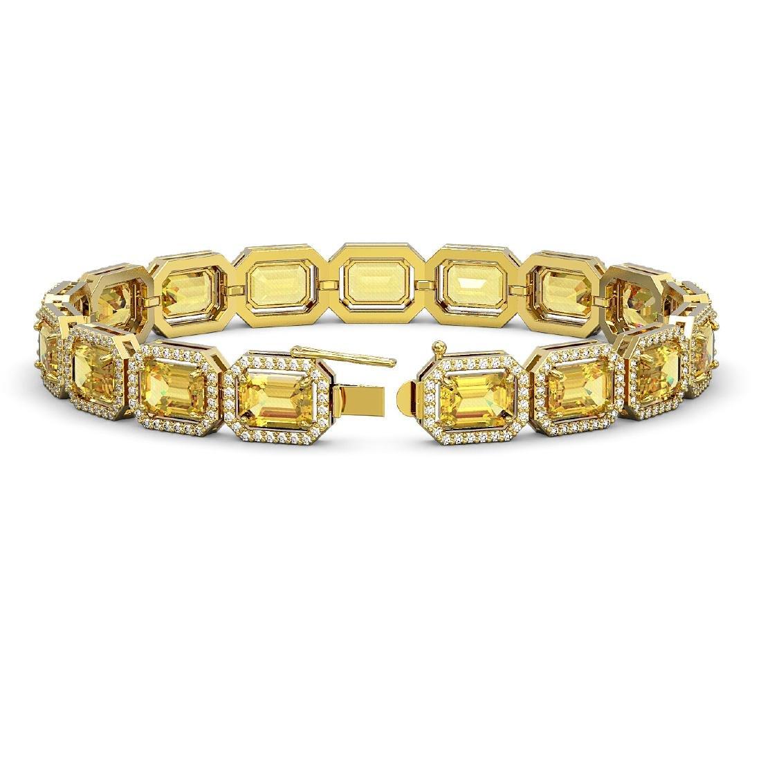 23.74 CTW Fancy Citrine & Diamond Halo Bracelet 10K - 2
