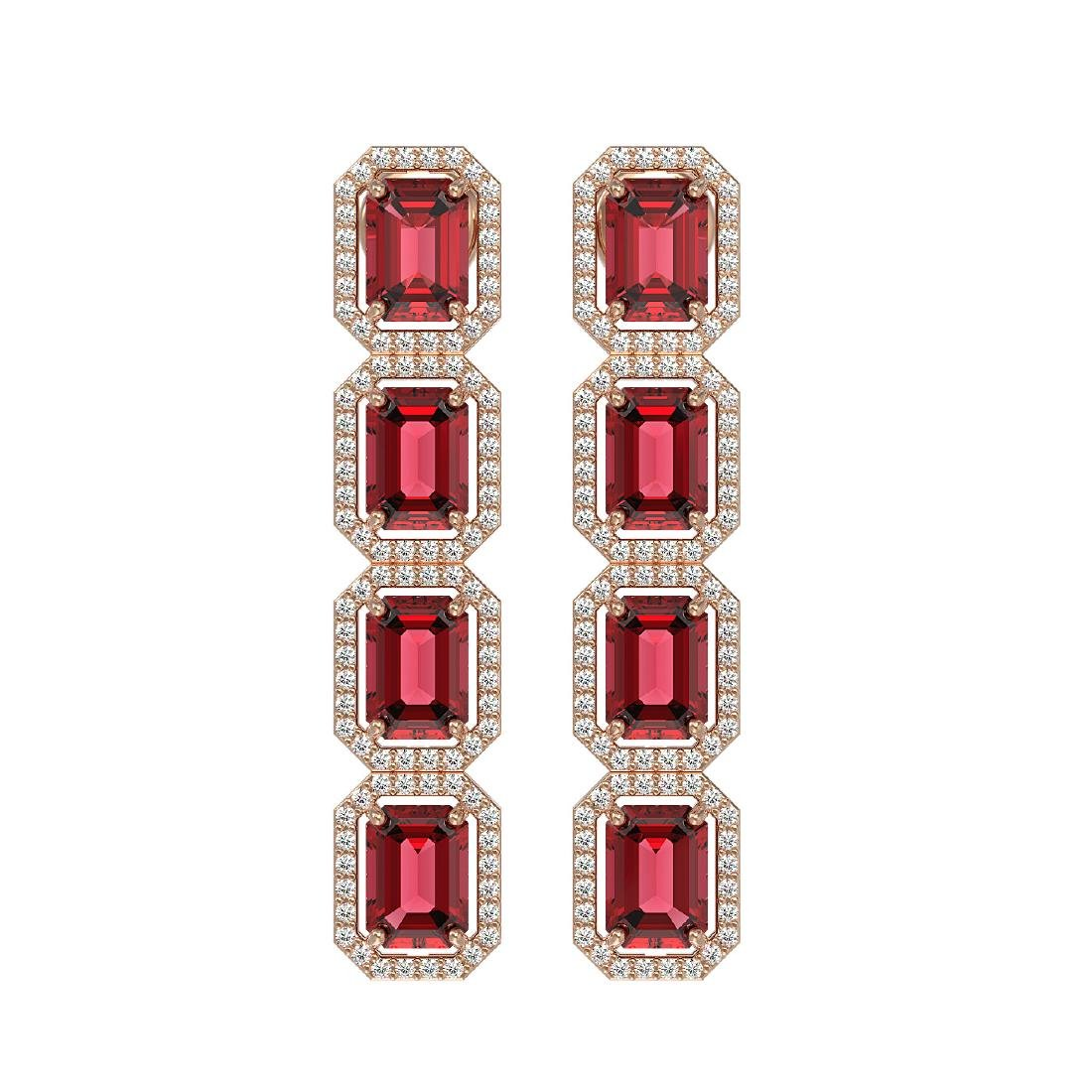 12.41 CTW Tourmaline & Diamond Halo Earrings 10K Rose