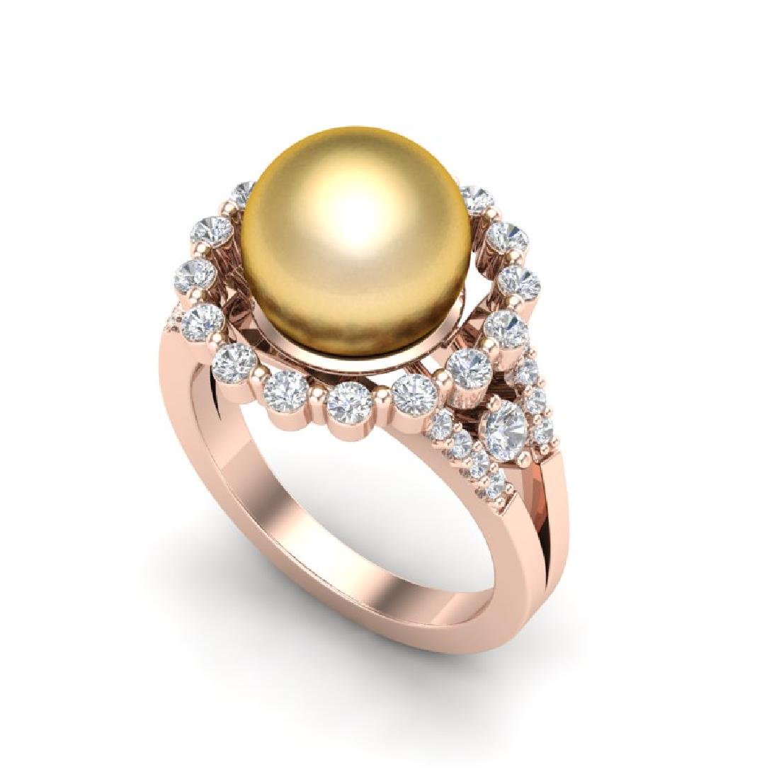 0.83 Ct Micro Pave VS/SI Diamond & Golden Pearl Halo - 2