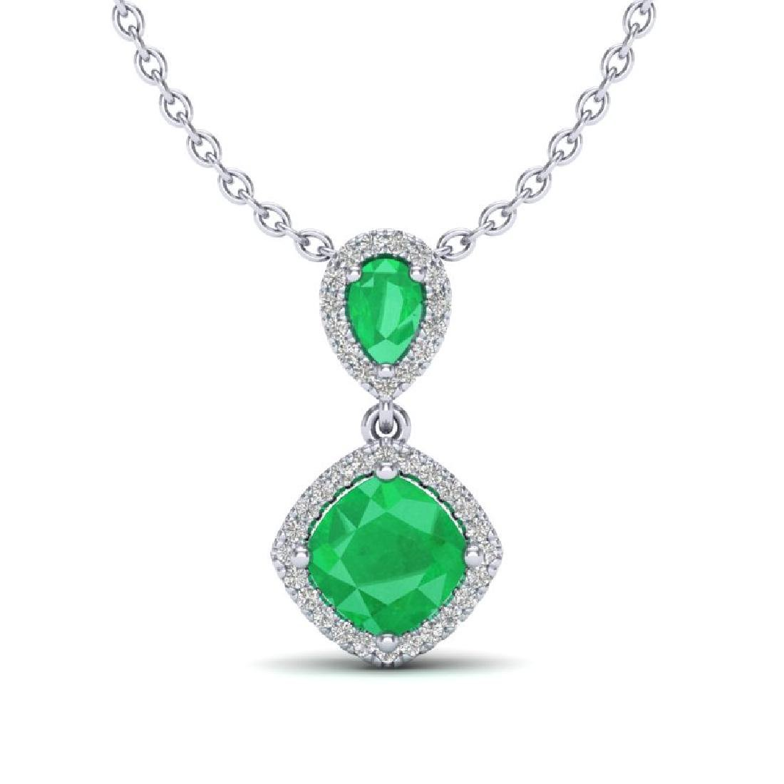 3.50 CTW Emerald & Micro VS/SI Diamond Necklace