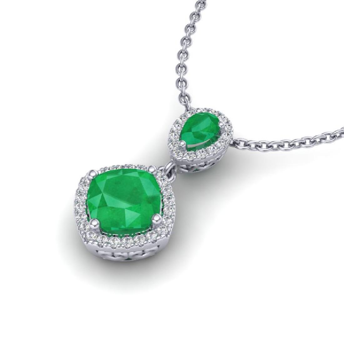 3.50 CTW Emerald & Micro VS/SI Diamond Necklace - 2