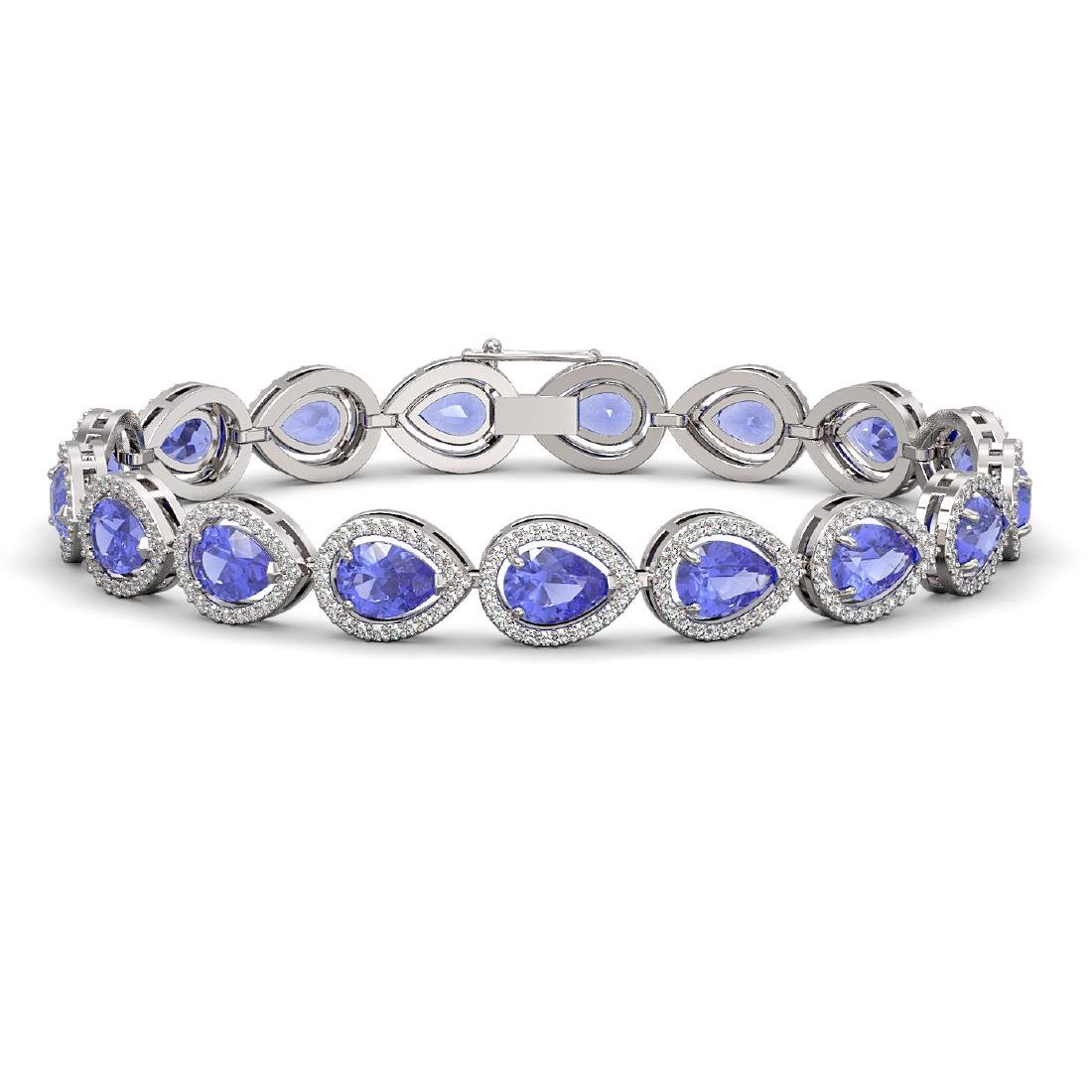 19.14 CTW Tanzanite & Diamond Halo Bracelet 10K White