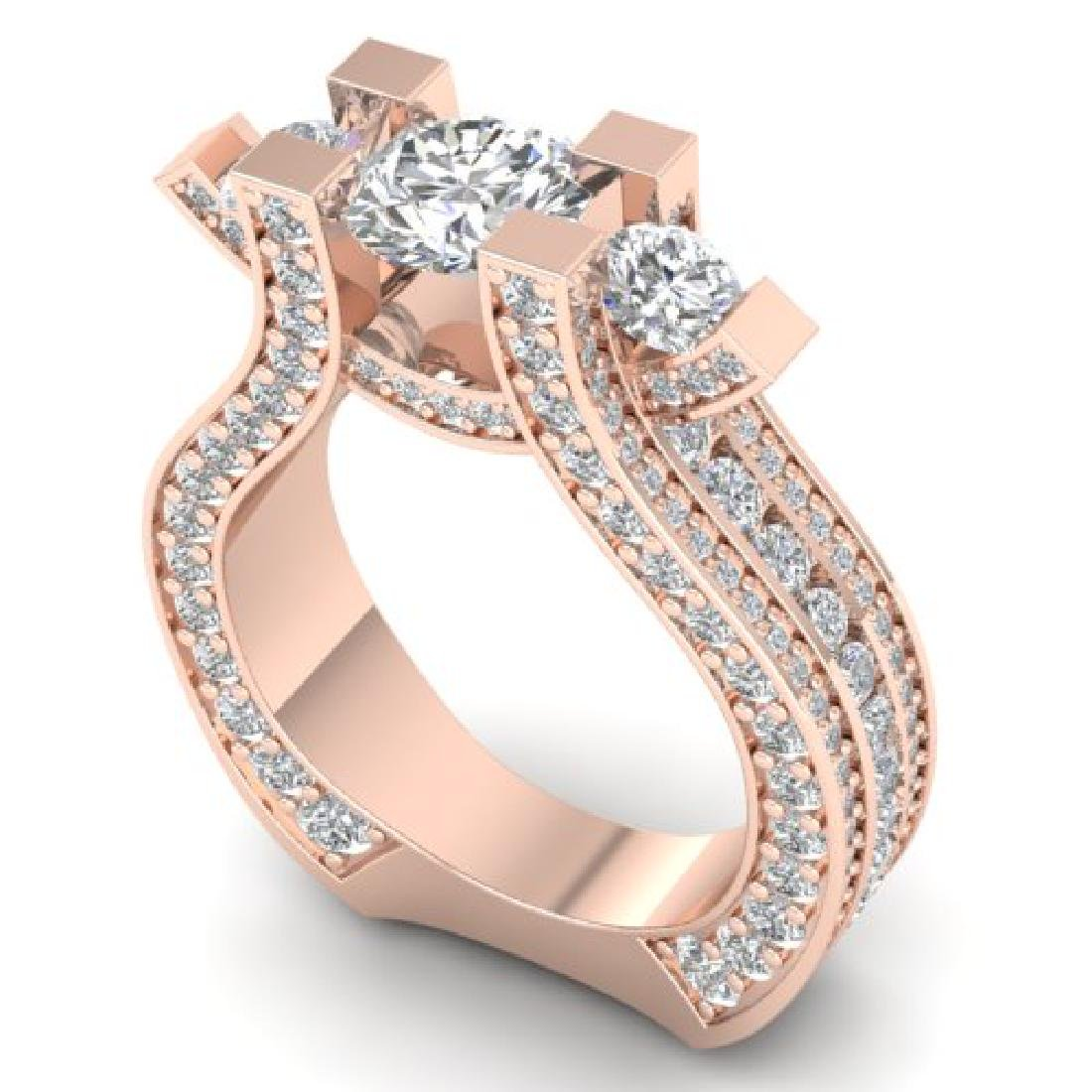 5.5 CTW Certified VS/SI Diamond Art Deco 3 Stone Micro - 2