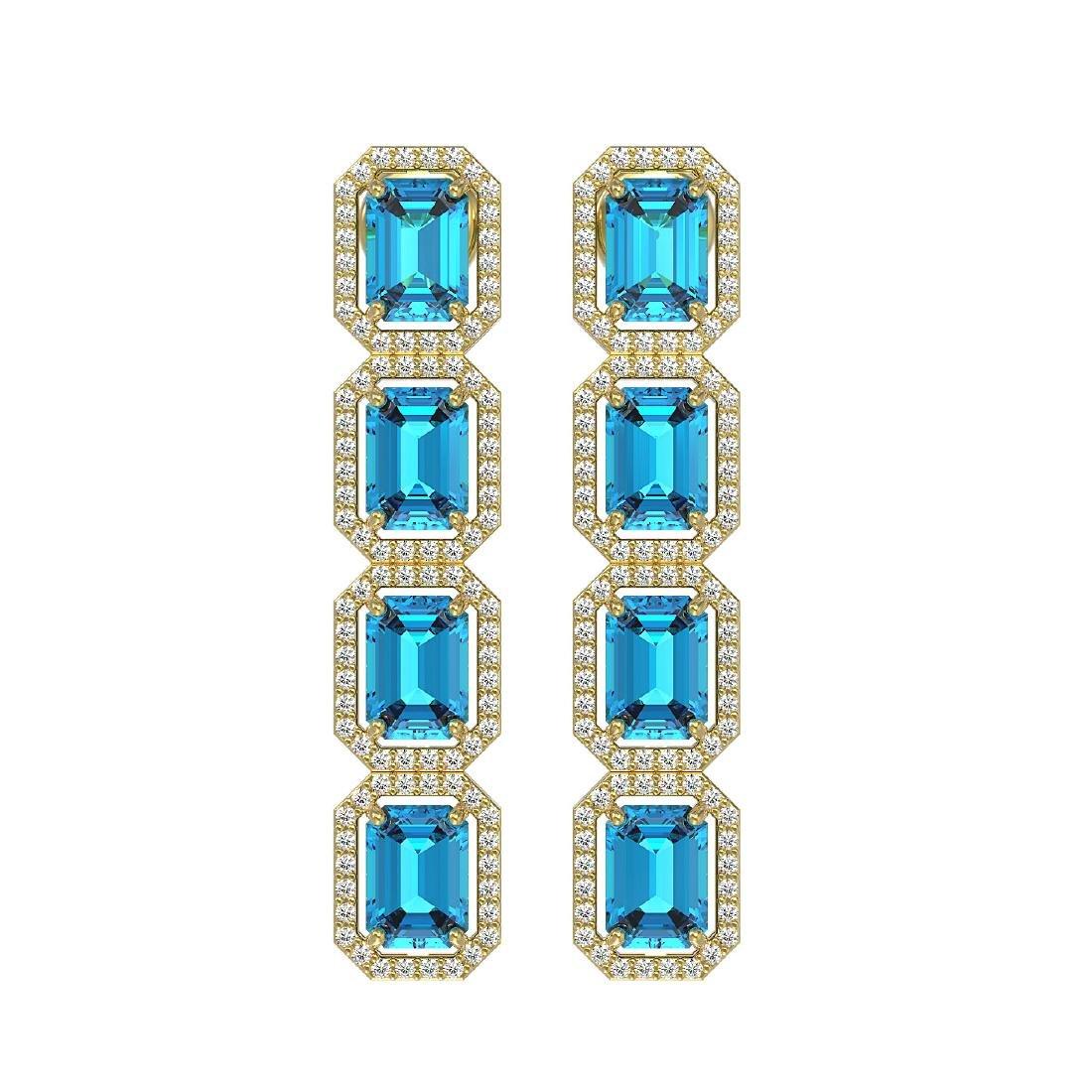 11.13 CTW Swiss Topaz & Diamond Halo Earrings 10K