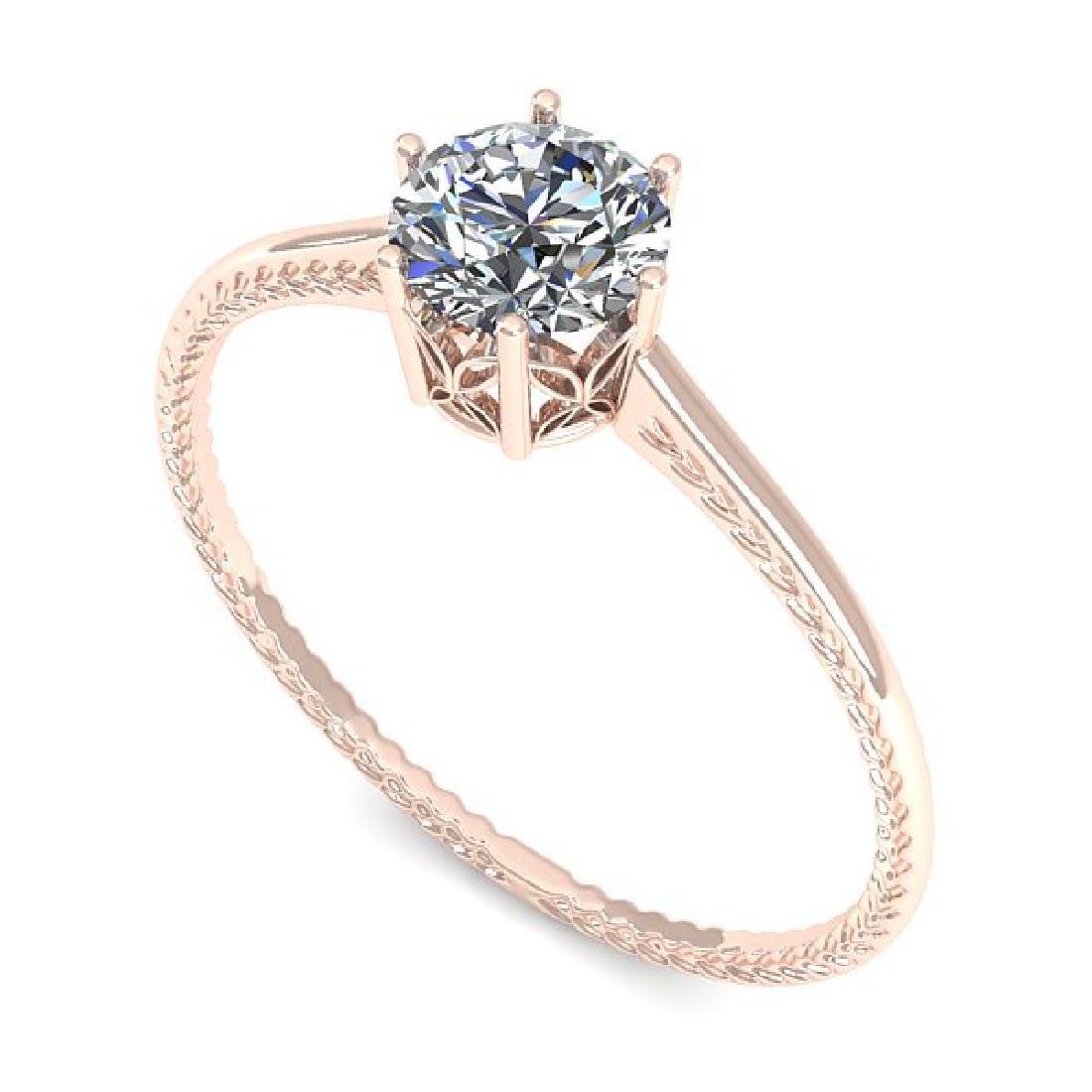 0.51 CTW VS/SI Diamond Art Deco Ring 14K Rose Gold - 2