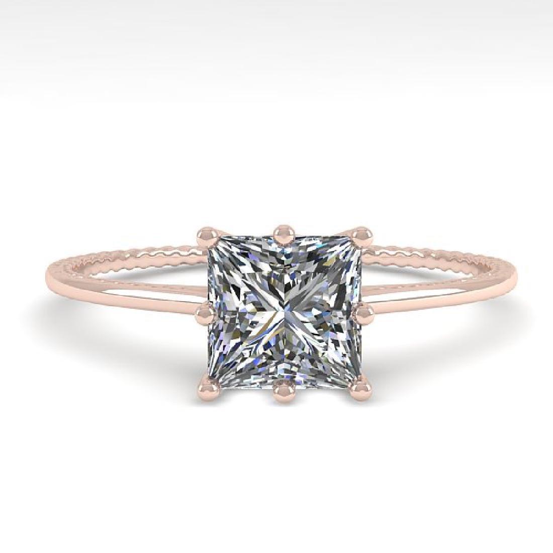 1.0 CTW VS/SI Princess Diamond Art Deco Ring 14K Rose