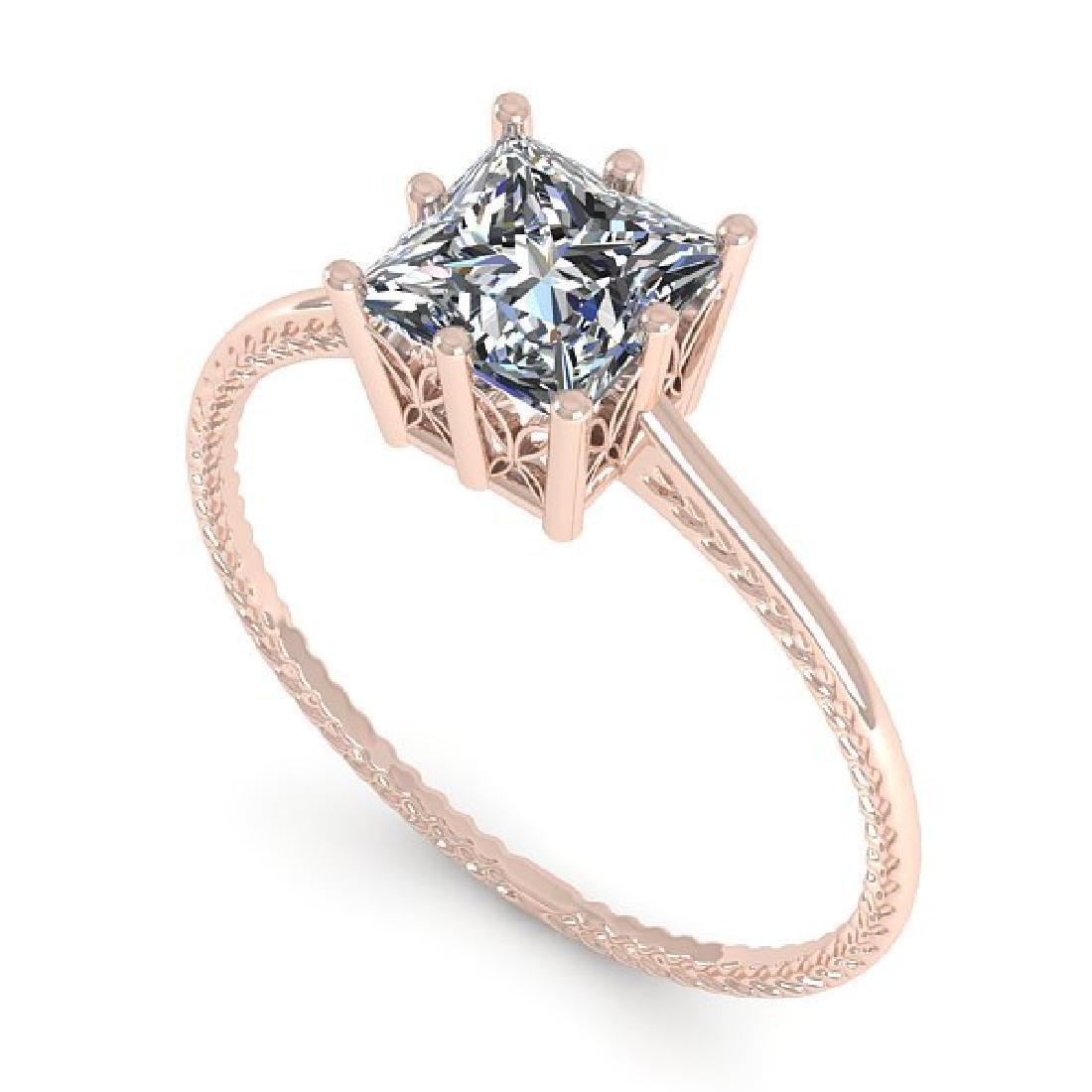 1.0 CTW VS/SI Princess Diamond Art Deco Ring 14K Rose - 2