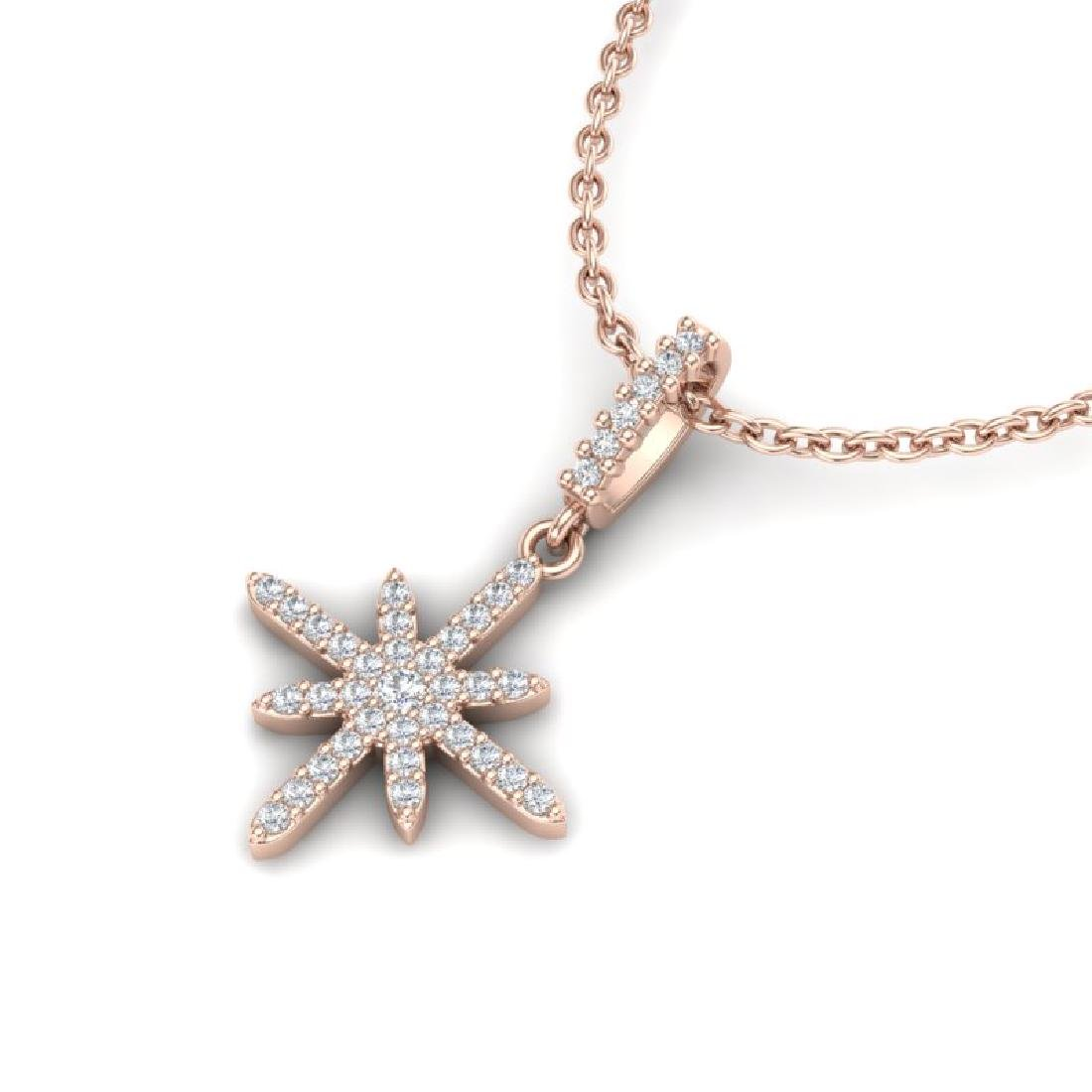 0.38 CTW Micro Pave VS/SI Diamond Necklace 14K Rose - 2