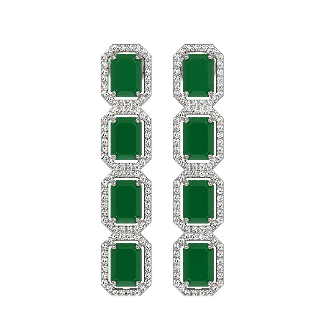 12.33 CTW Emerald & Diamond Halo Earrings 10K White