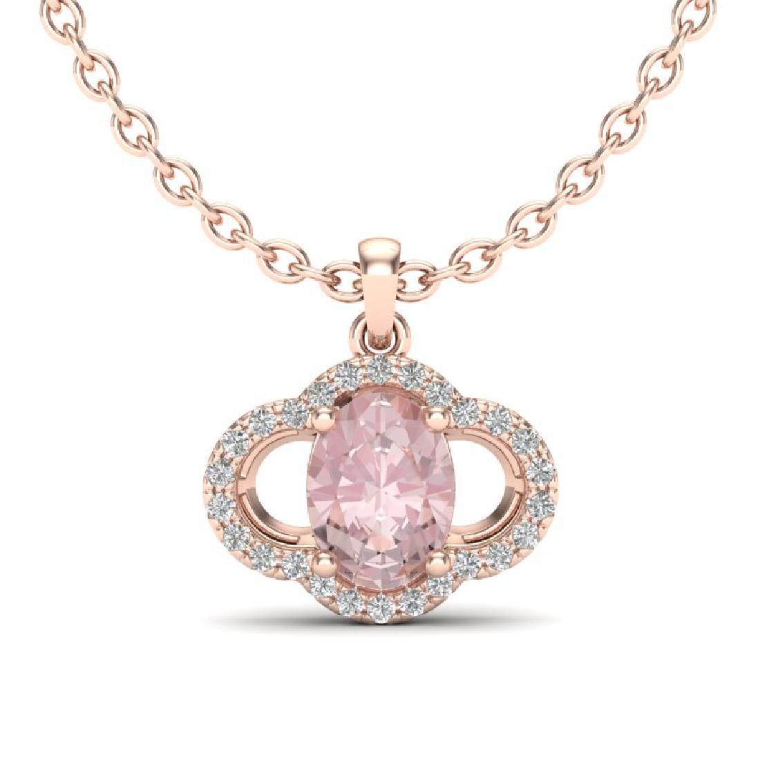 1.75 CTW Morganite & Micro Pave VS/SI Diamond Necklace