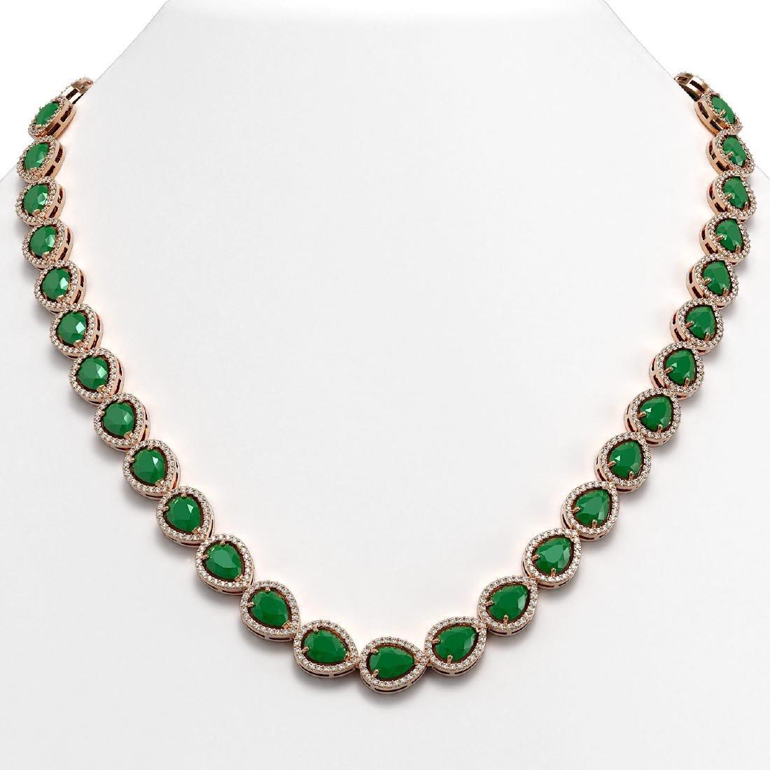 45.93 CTW Emerald & Diamond Halo Necklace 10K Rose Gold