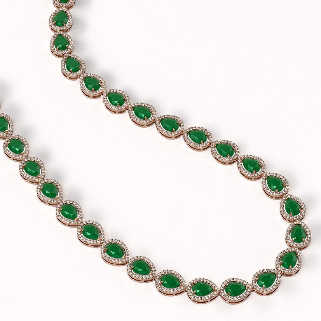 45.93 CTW Emerald & Diamond Halo Necklace 10K Rose Gold - 2