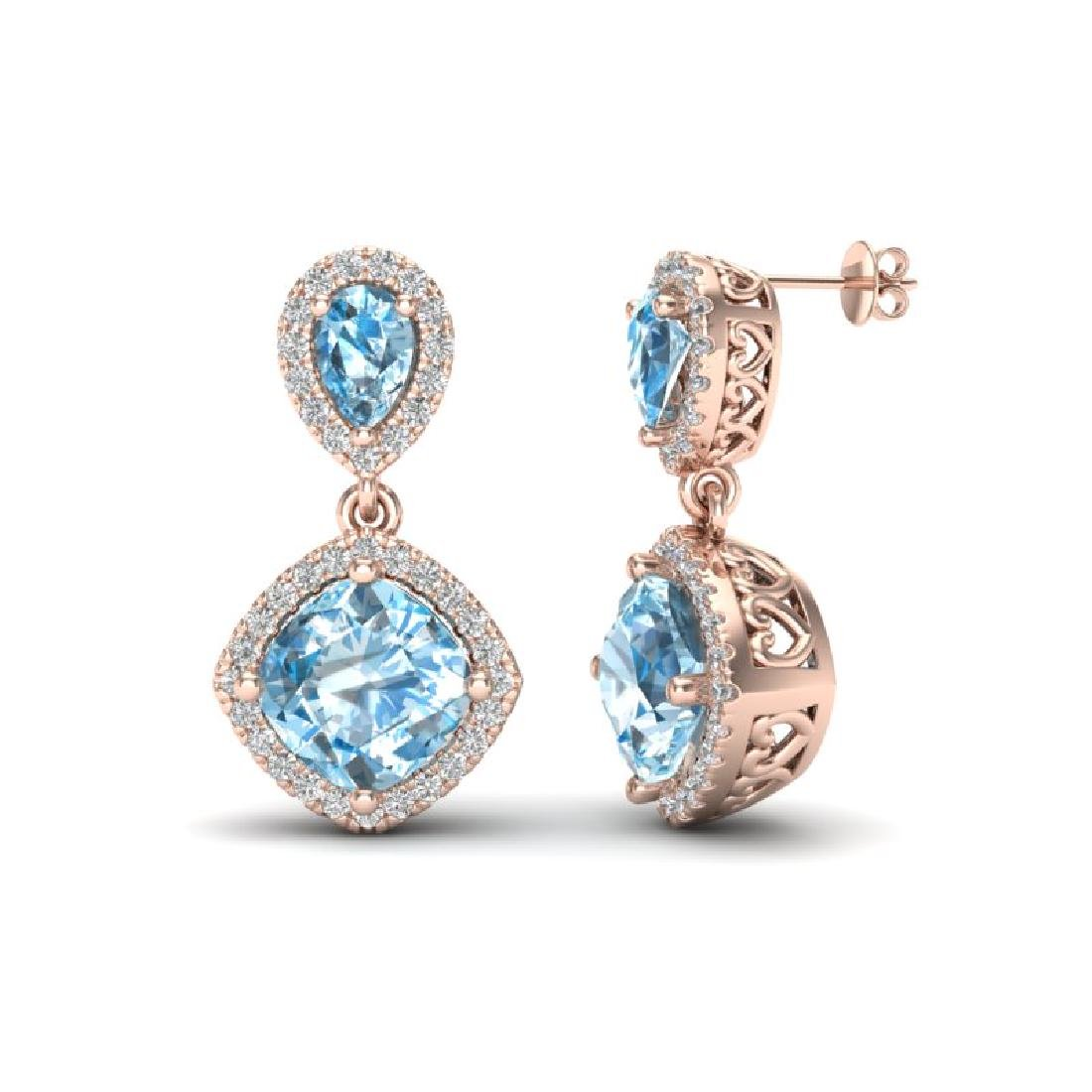 7 CTW Sky Blue Topaz & Micro VS/SI Diamond Earrings - 2