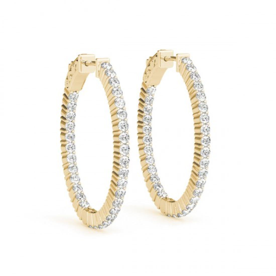 5.5 CTW Diamond VS/SI Certified 22 Mm Hoop Earrings 14K - 2