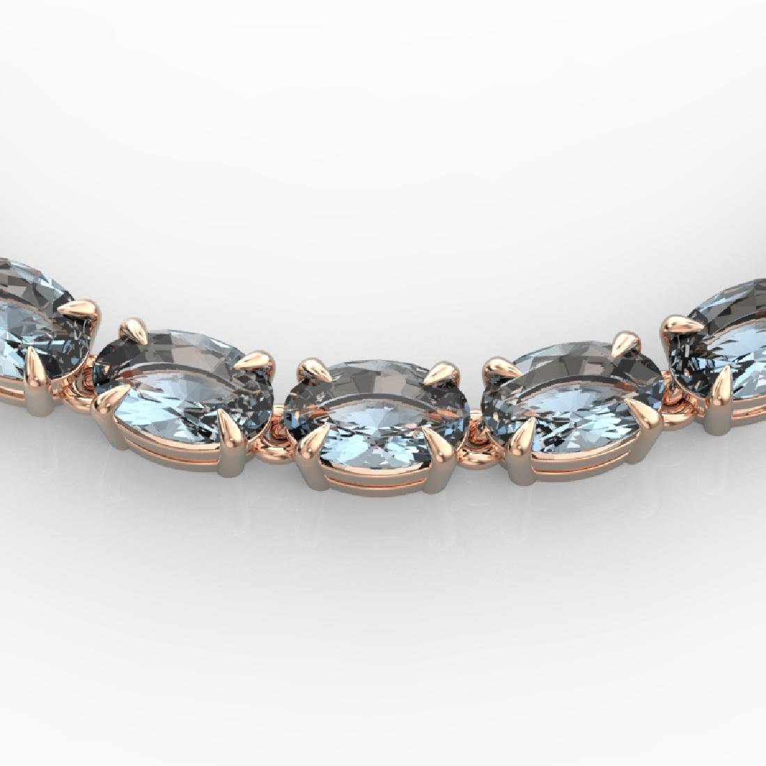 29 CTW Aquamarine Eternity Tennis Necklace 14K Rose