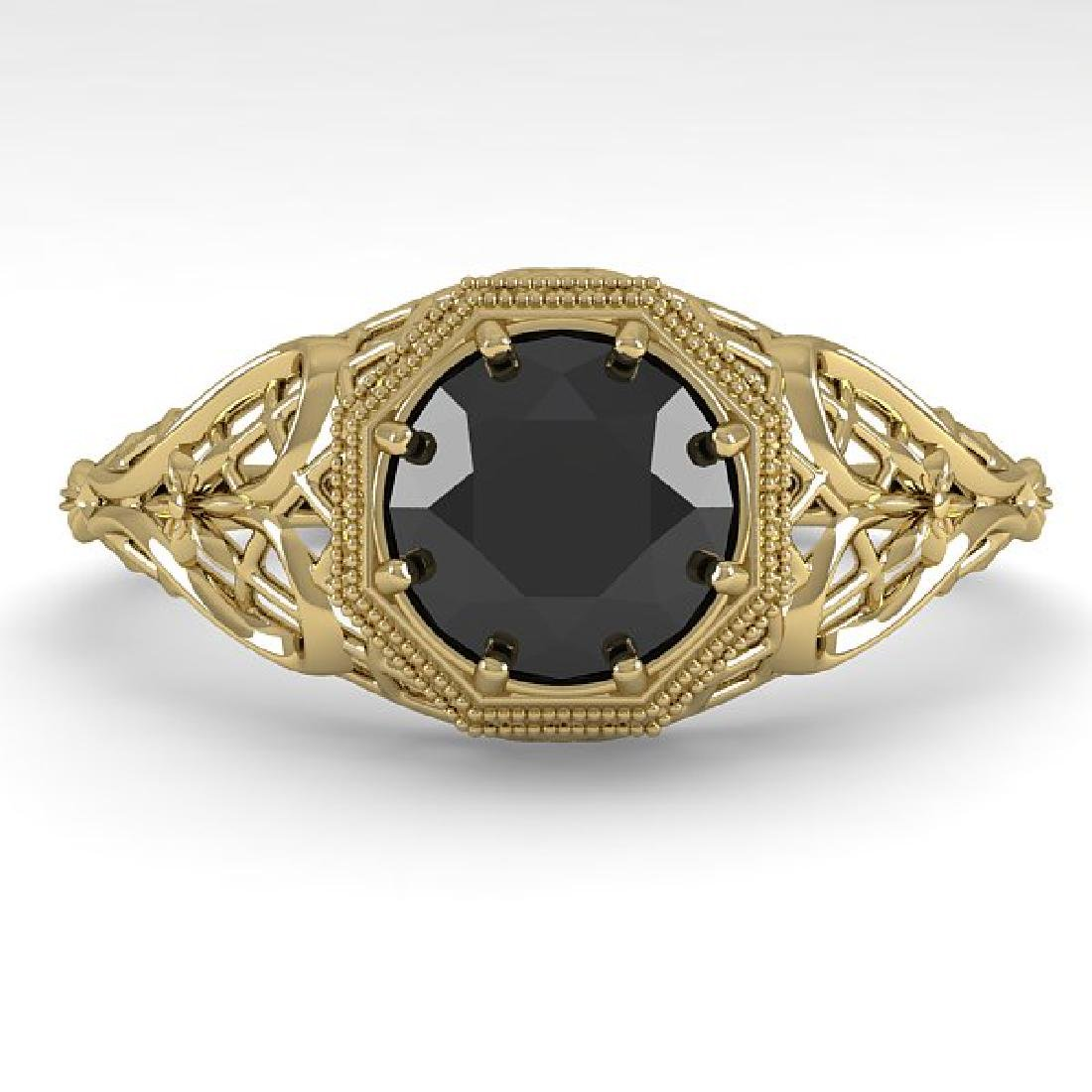 1.0 CTW Black Certified Diamond Ring Art Deco 14K