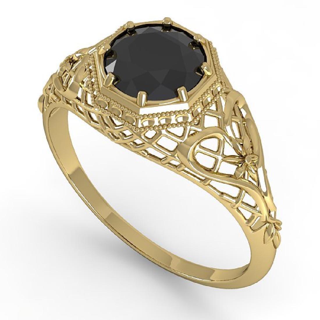 1.0 CTW Black Certified Diamond Ring Art Deco 14K - 2