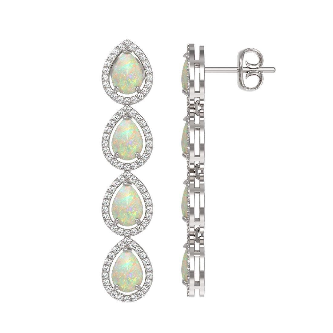 6.2 CTW Opal & Diamond Halo Earrings 10K White Gold - 2