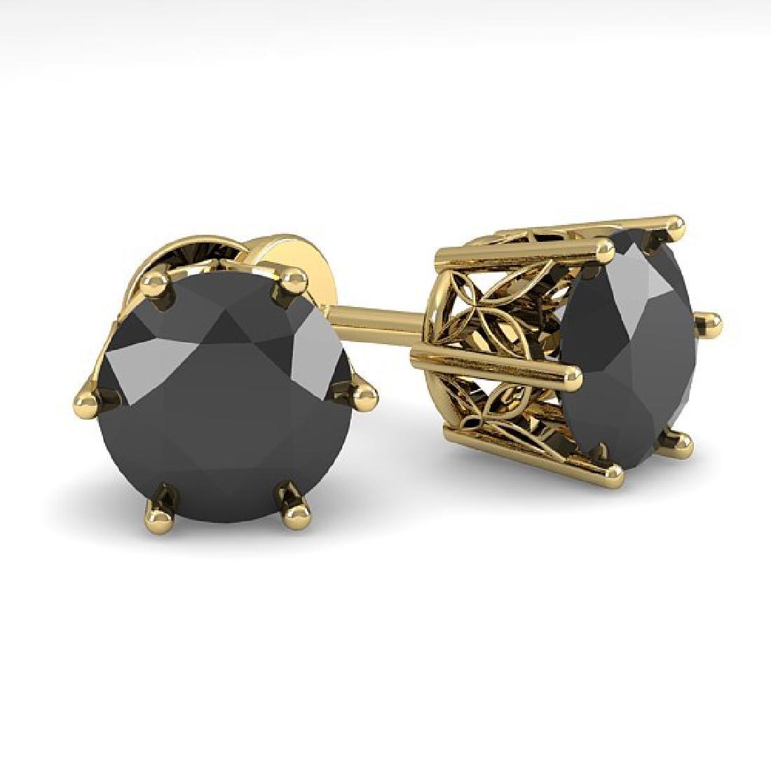 3.0 CTW Black Certified Diamond Stud Art Deco Earrings