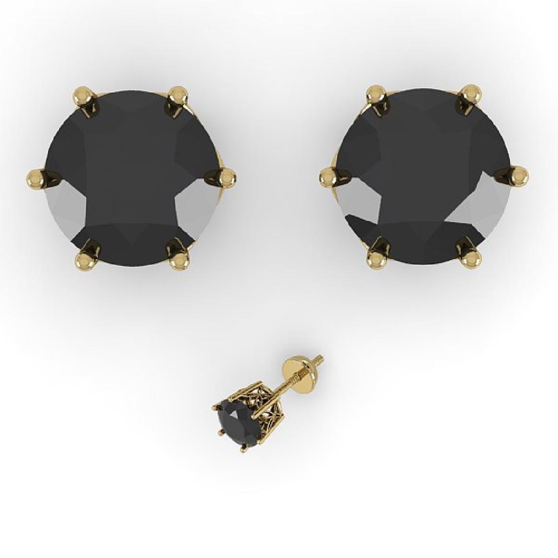 3.0 CTW Black Certified Diamond Stud Art Deco Earrings - 2