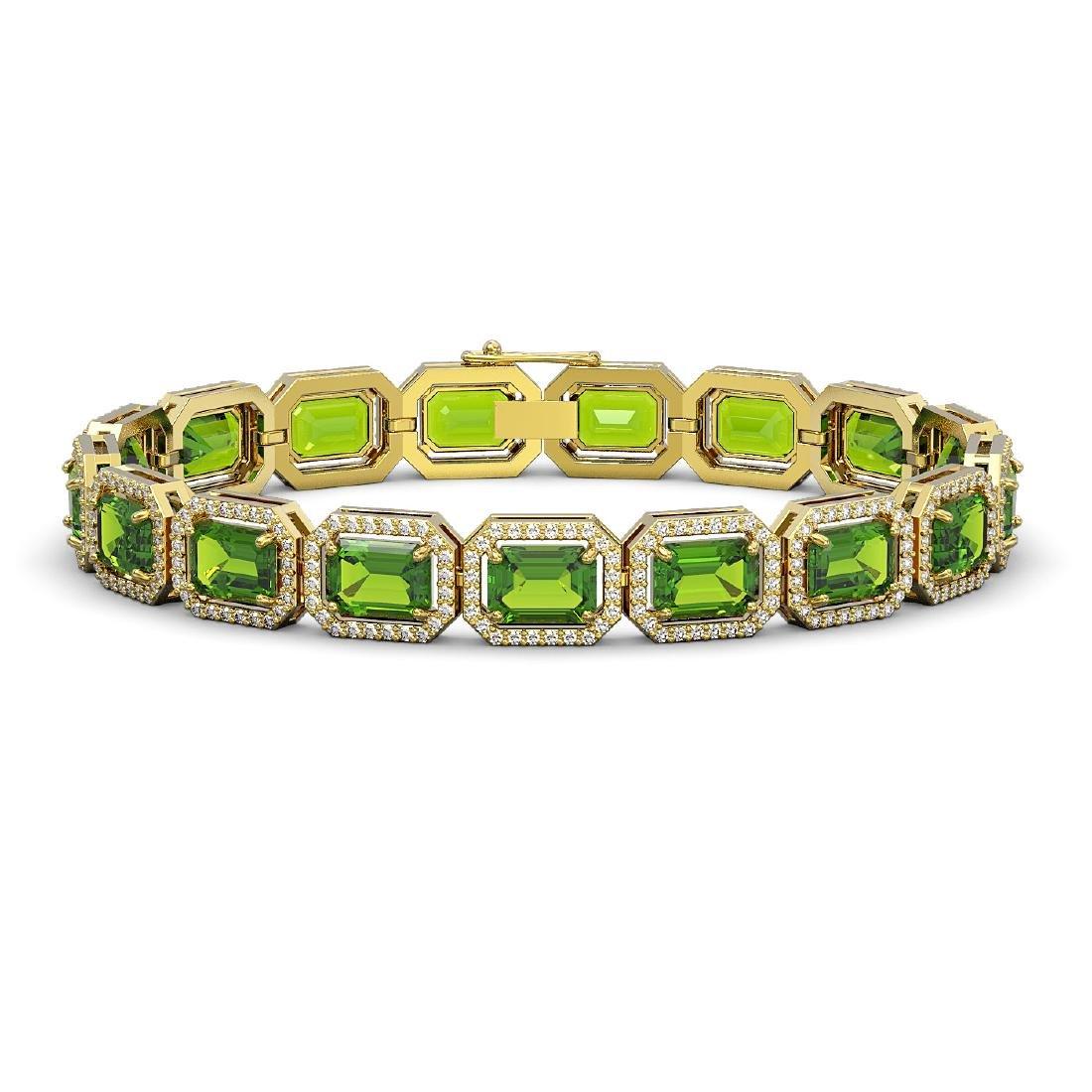 25.41 CTW Peridot & Diamond Halo Bracelet 10K Yellow