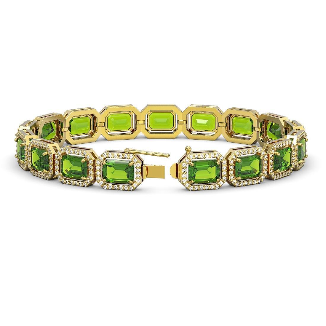 25.41 CTW Peridot & Diamond Halo Bracelet 10K Yellow - 2
