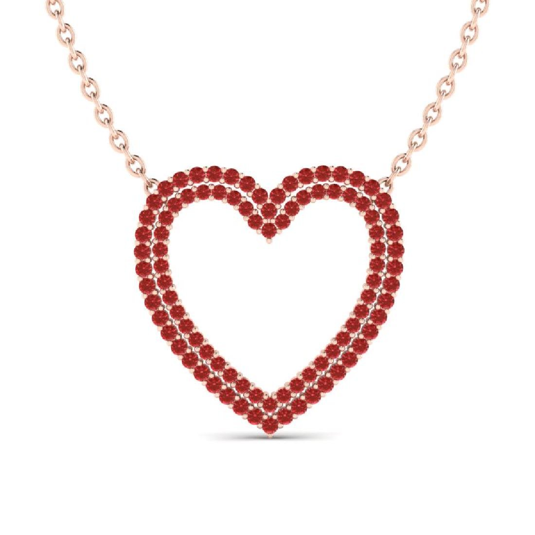 3.50 CTW Red Sapphire Heart Halo Designer Necklace 10K