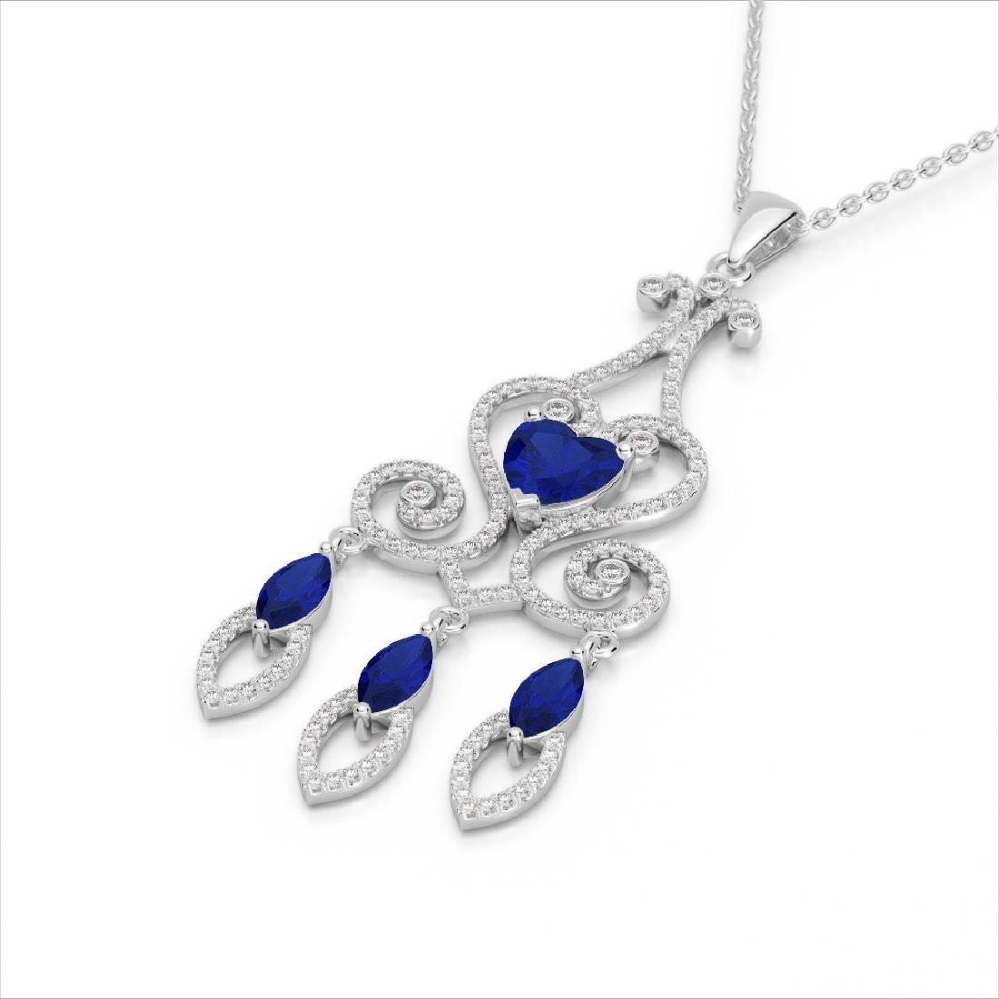 5.50 CTW Sapphire & Micro Pave VS/SI Diamond Heart - 2