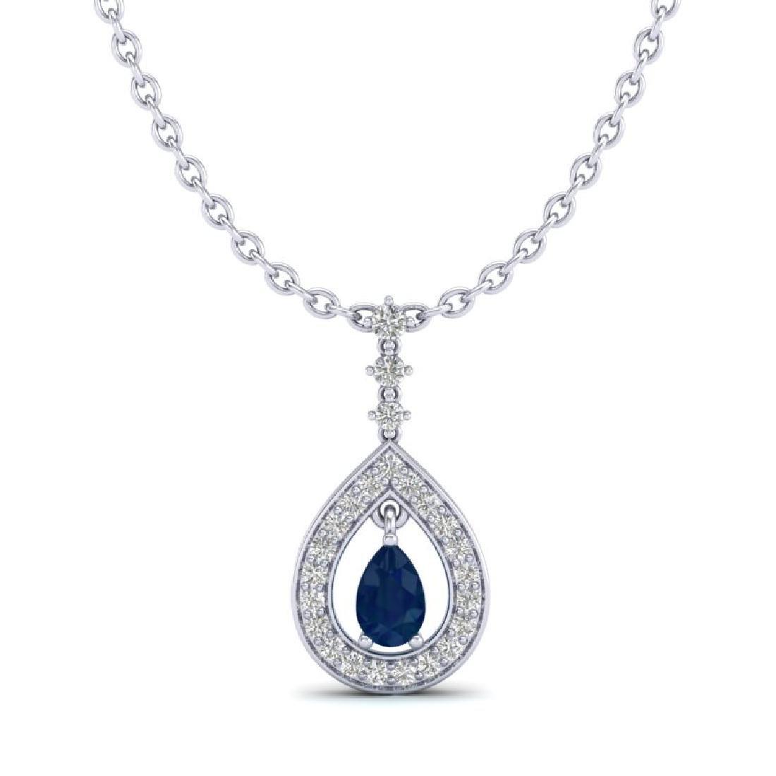 1.15 CTW Sapphire & Micro Pave VS/SI Diamond Necklace - 2