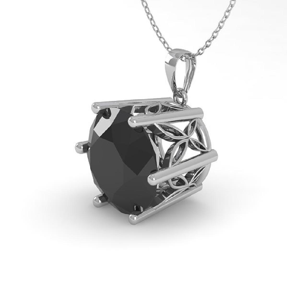 2 CTW Black Certified Diamond Art Deco Necklace 14K