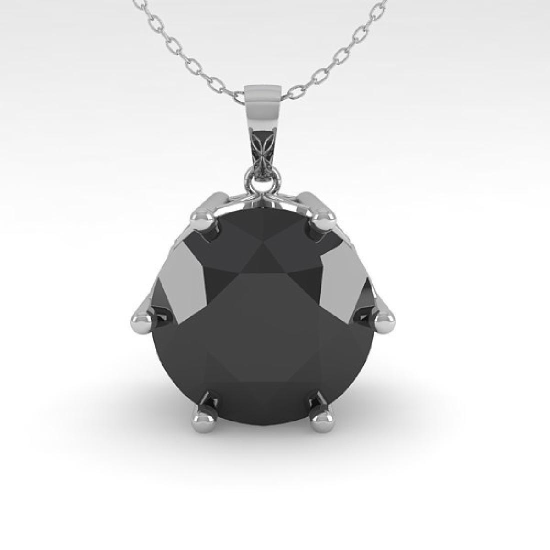 2 CTW Black Certified Diamond Art Deco Necklace 14K - 2